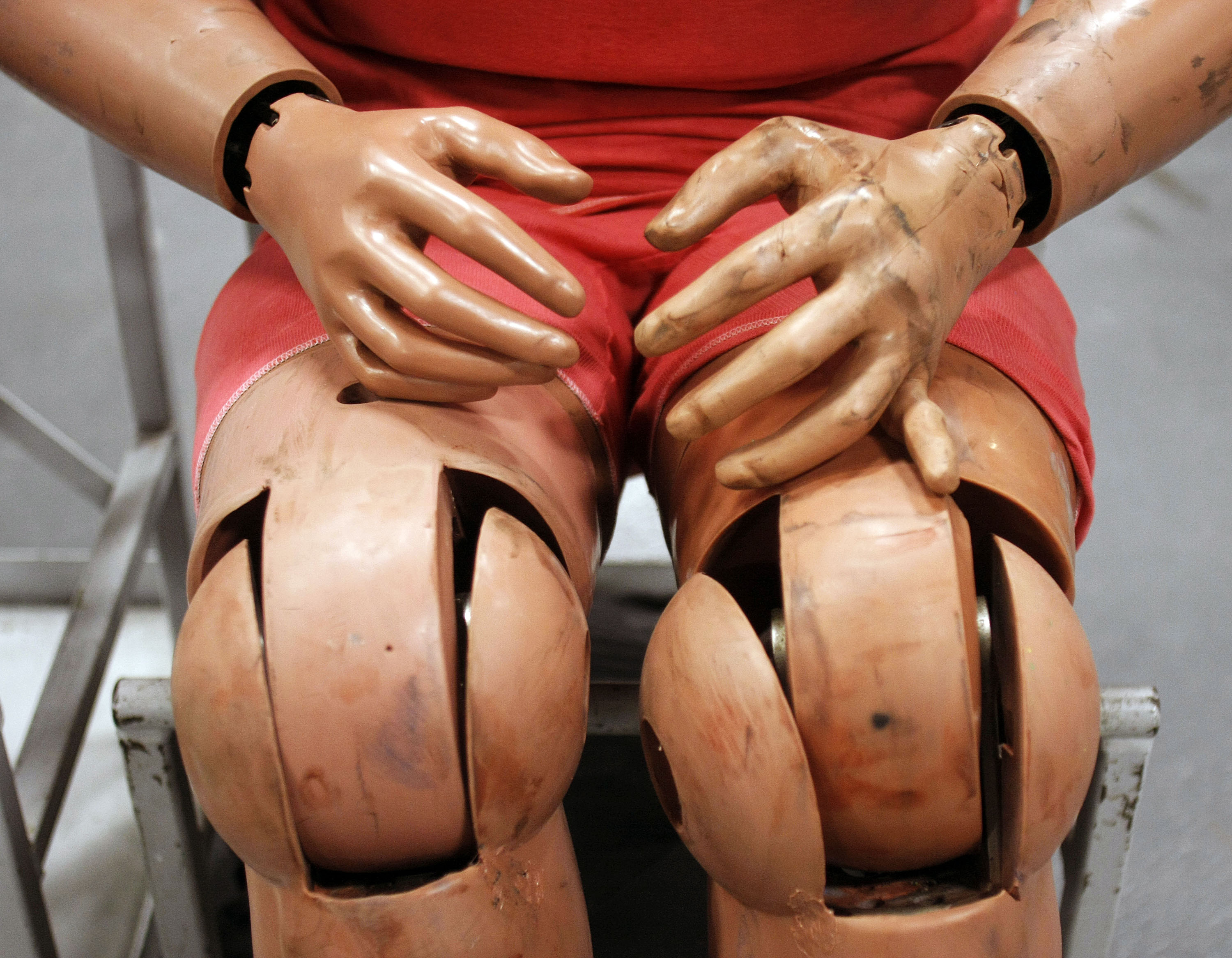 A Ford crash test dummy is shown at the Crash Barrier Dearborn Development Center March 10, 2014 in Dearborn, Michigan.