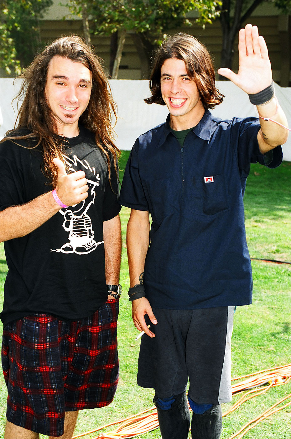 Dave Abruzzo of Pearl Jam and Dave Grohl of Nirvana in 1992.