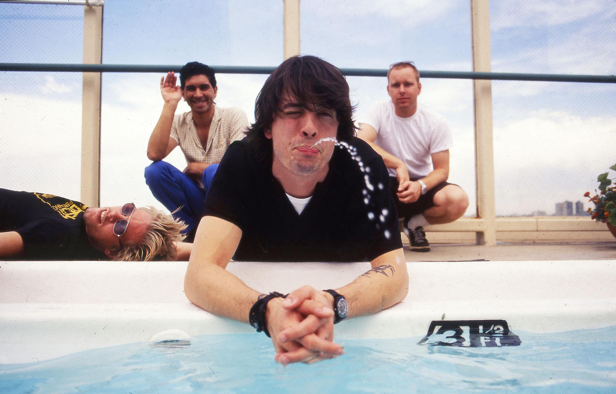 Foo Fighters group portrait in Denver in 1998.
