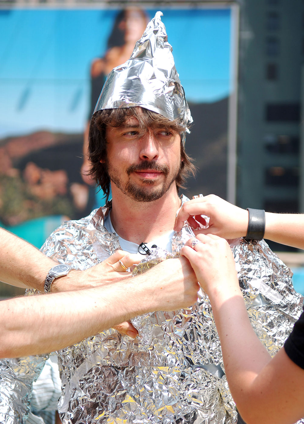 """Dave Grohl of the Foo Fighters during the Foo Fighters Take Over MTV2 """"24 Hours of Foo"""" in New York City on June 11, 2005."""
