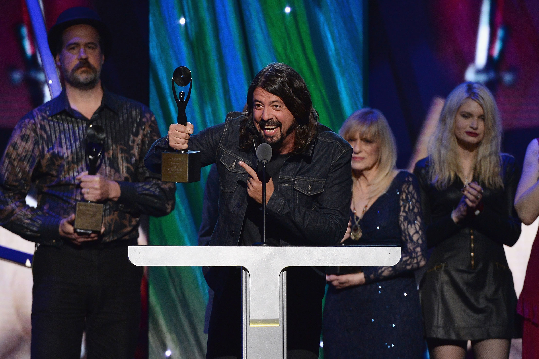 Inductee Dave Grohl speaks onstage at the 29th Annual Rock And Roll Hall Of Fame Induction Ceremony at Barclays Center of Brooklyn on April 10, 2014 in New York City.