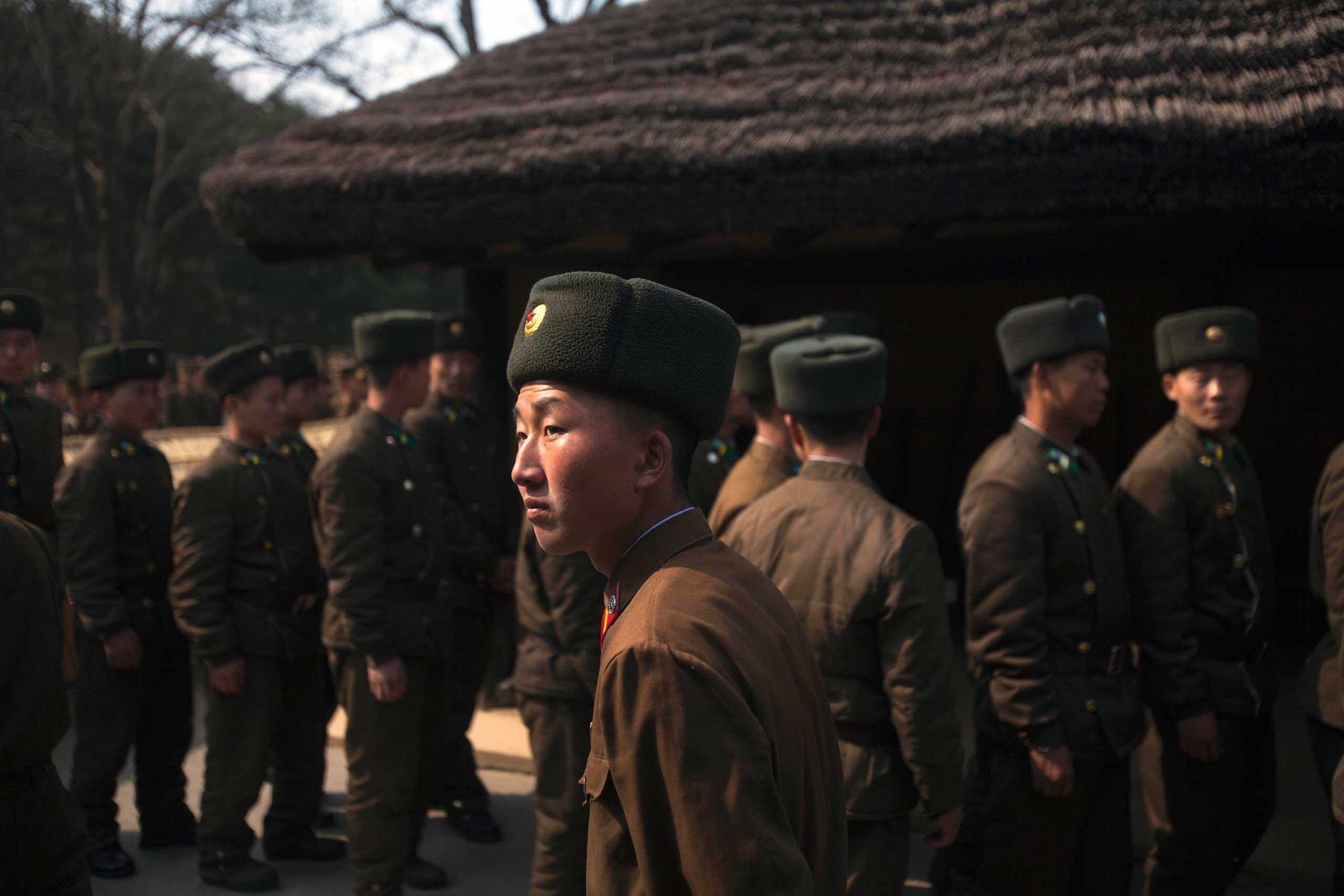 April 13, 2011. North Korean soldiers tour the grounds of the birthplace of the late President Kim Il-Sung at Mangyongdae, North Korea.