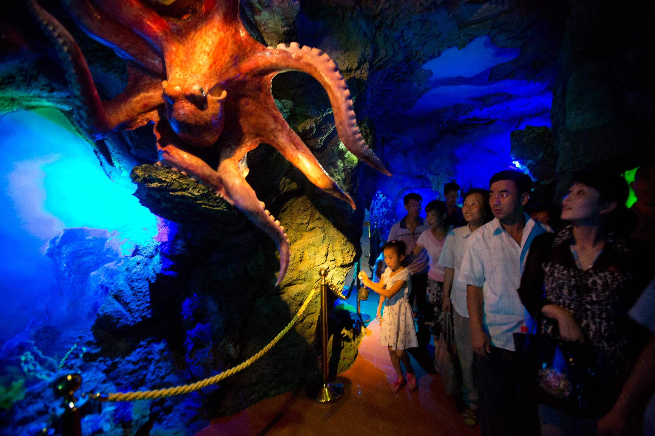 Aug. 8, 2012. North Koreans look at a model of an octopus as they tour a dolphin show facility at a newly-built amusement park in Pyongyang, North Korea.