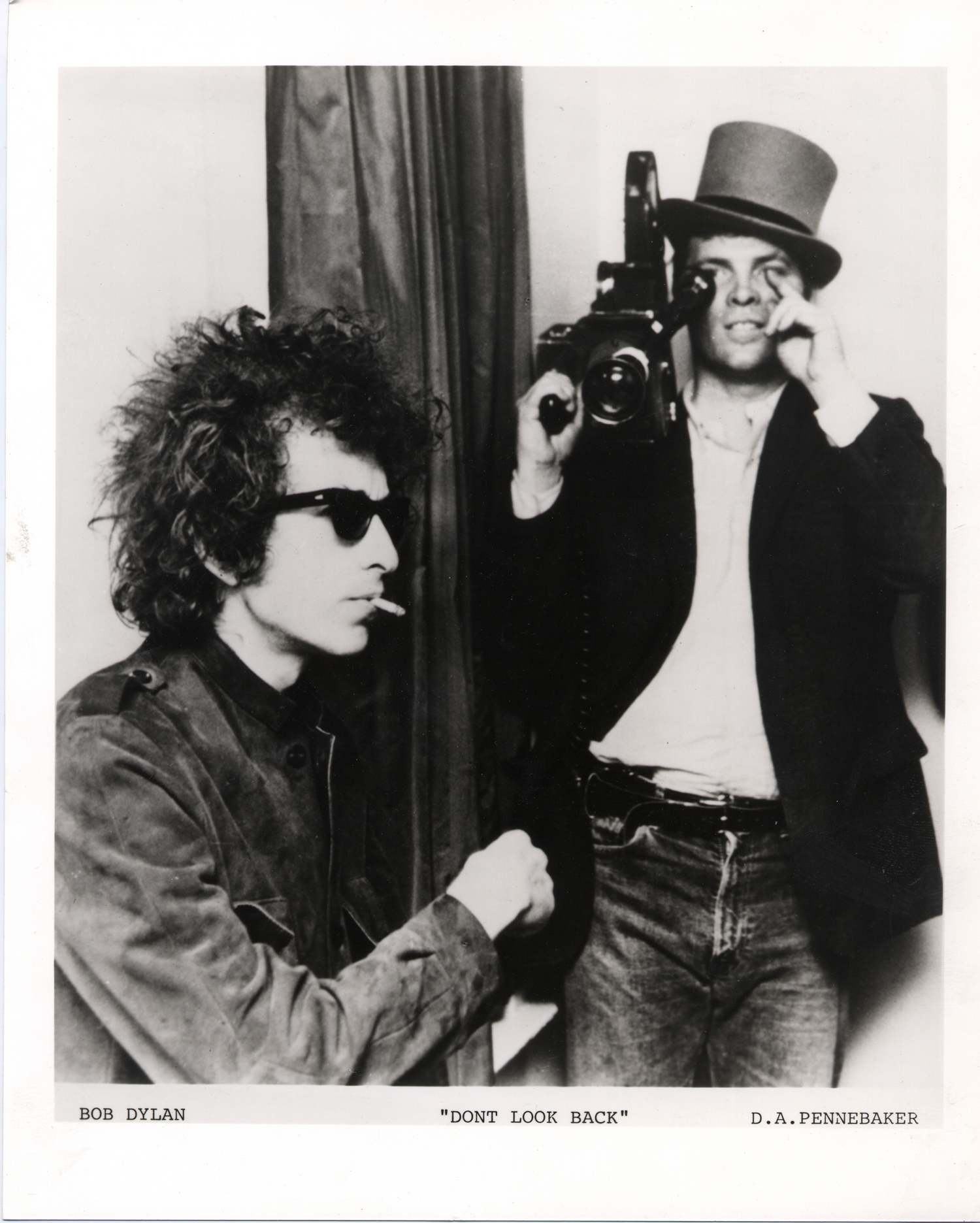 D. A. Pennebaker (right) and Bob Dylan during filming of Don't Look Back, 1965.