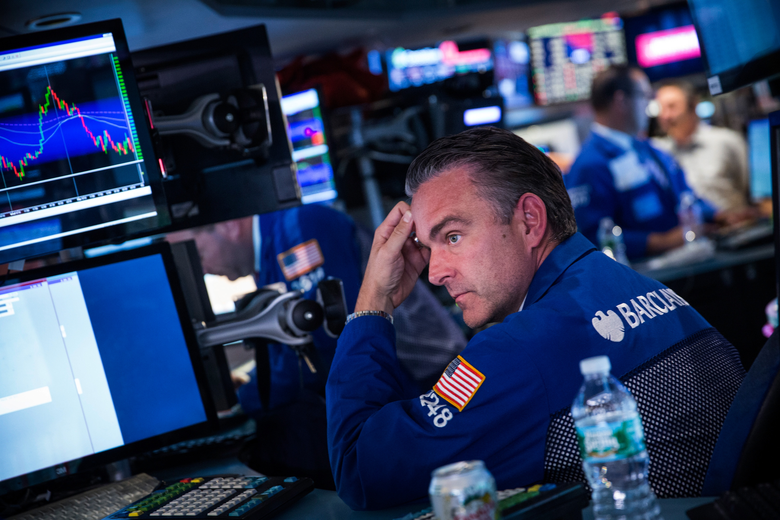 A trader works on the floor of the New York Stock Exchange during afternoon trading on Oct. 9, 2014 in New York City.