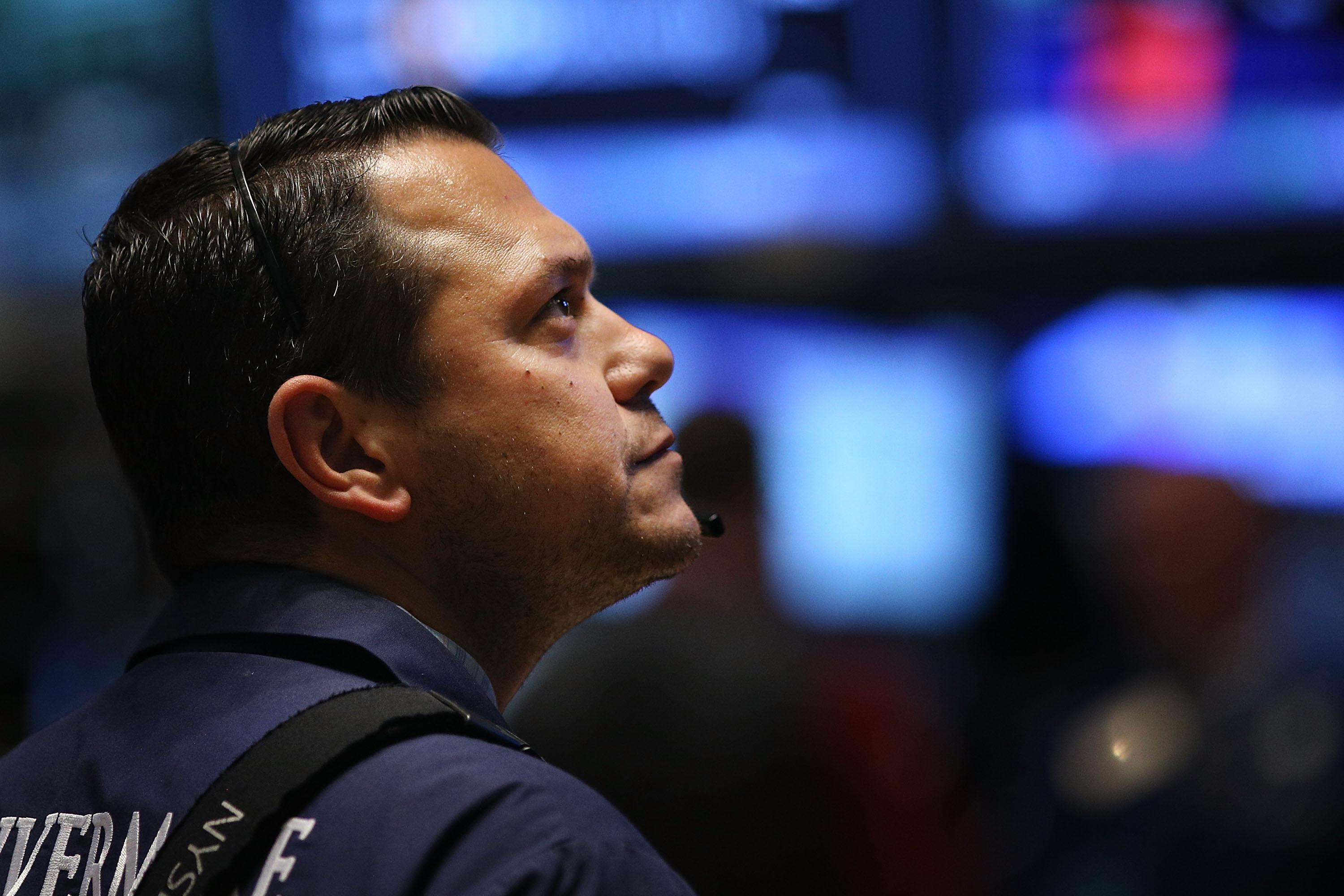 A trader works on the floor of the New York Stock Exchange (NYSE) on Oct. 21, 2014 in New York City.
