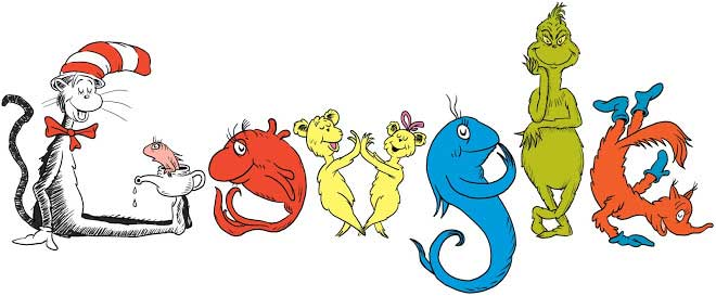 <strong>March 2, 2009</strong> The doodlers arranged classic Dr. Seuss characters, like the Cat in the Hat and the Grinch, to form the logo's letters.