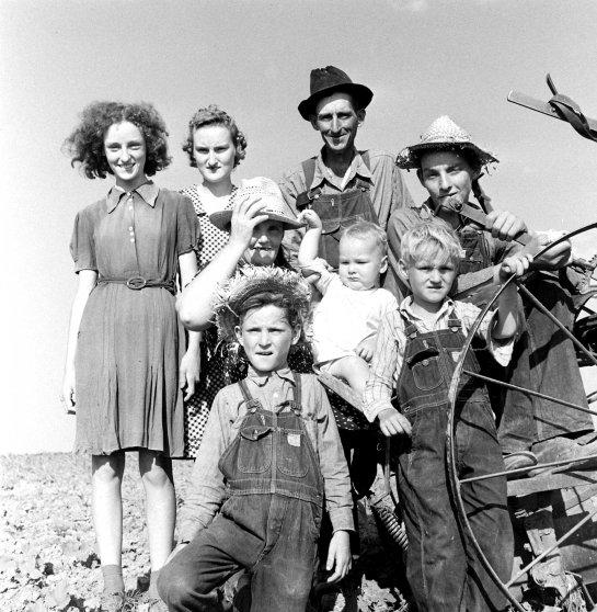 Oklahoma farmer and his family, 1942.