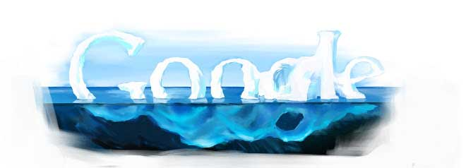 <strong>April 22, 2007</strong> A melting iceberg for Earth Day is one of many eco-minded doodles the team has created.