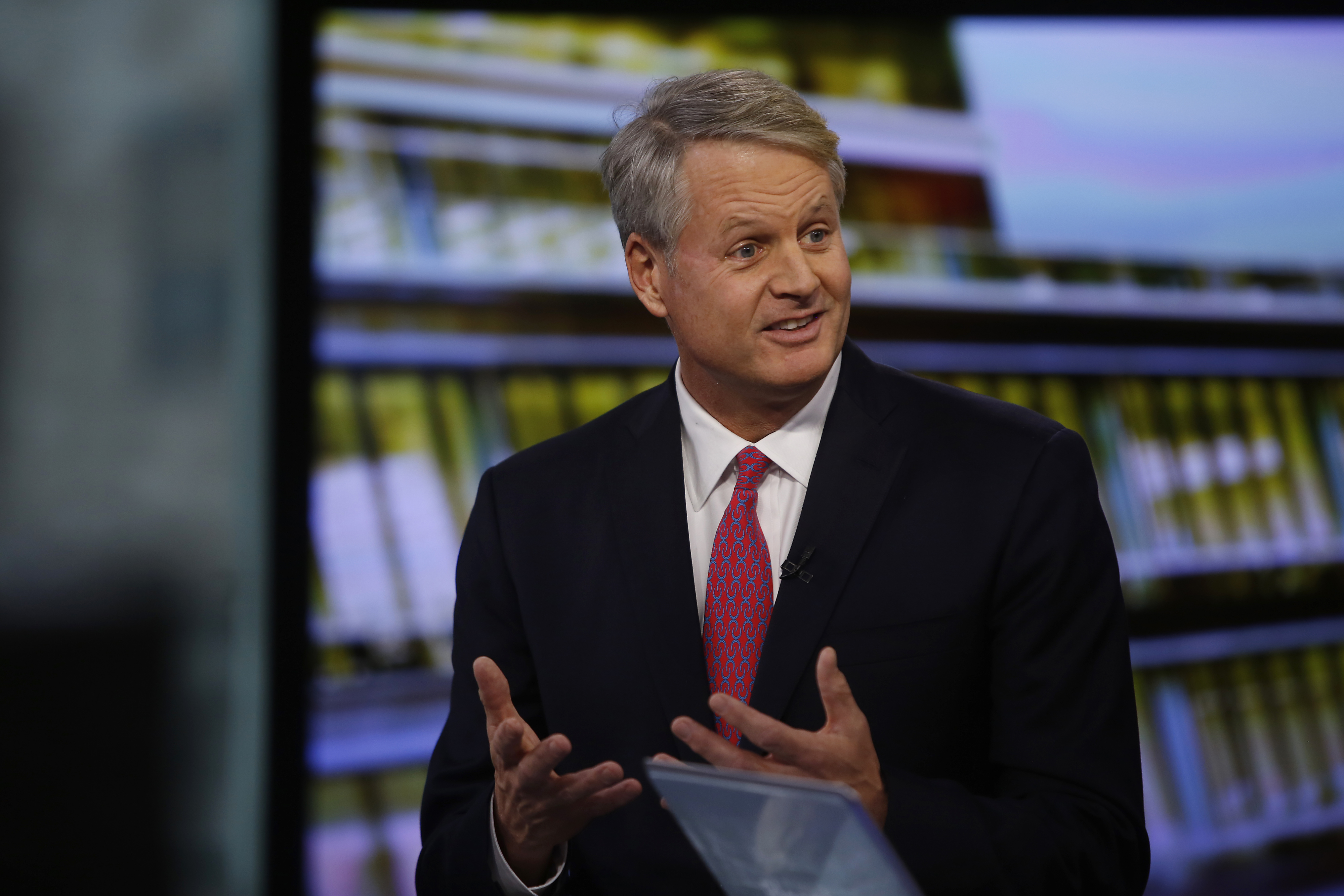 John Donahoe, president and chief executive officer of eBay Inc., speaks during a Bloomberg Television interview in New York, U.S., on Tuesday, Feb. 18, 2014.