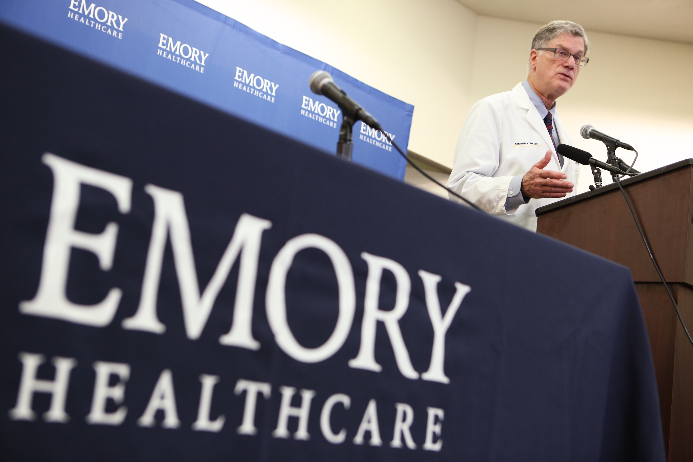 Dr. Bruce Ribner an epidemiologist and professor in the School of Medicine's Infectious Diseases Division, confirms that Emory University Hospital will be receiving and treating two American patients diagnosed with Ebola virus during a press conference at Emory University Hospital on Aug. 1, 2014 in Atlanta.