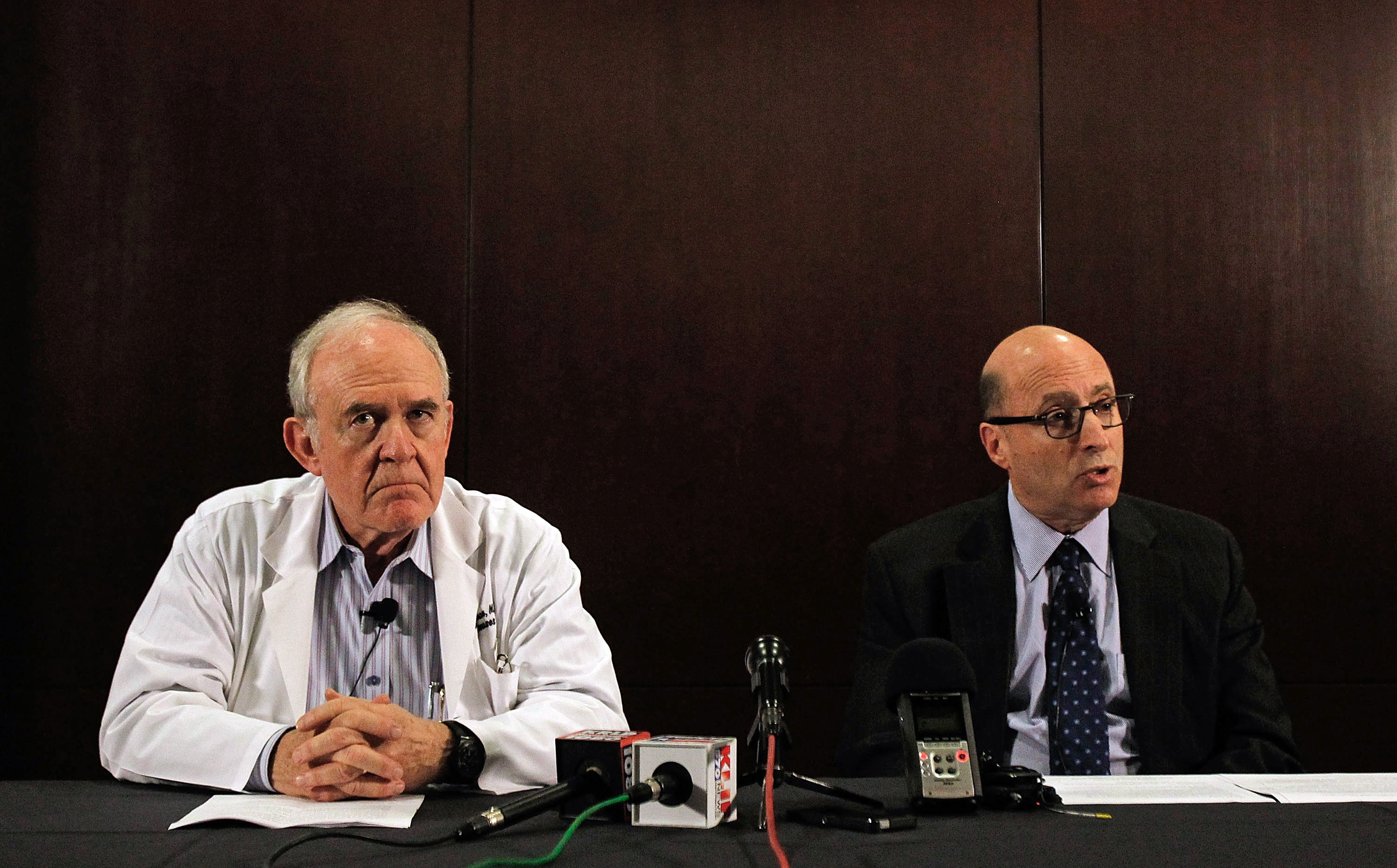 Dr. Edward Goodman, epidemiologist at Texas Health Presbyterian Hospital Dallas, and Dr. Mark Lester, Southeast Zone clinical leader for Texas Health Resources, answer questions during a media conference at Texas Health Presbyterian Hospital Dallas where a patient has been diagnosed with the Ebola virus on Sept. 30, 2014 in Dallas.