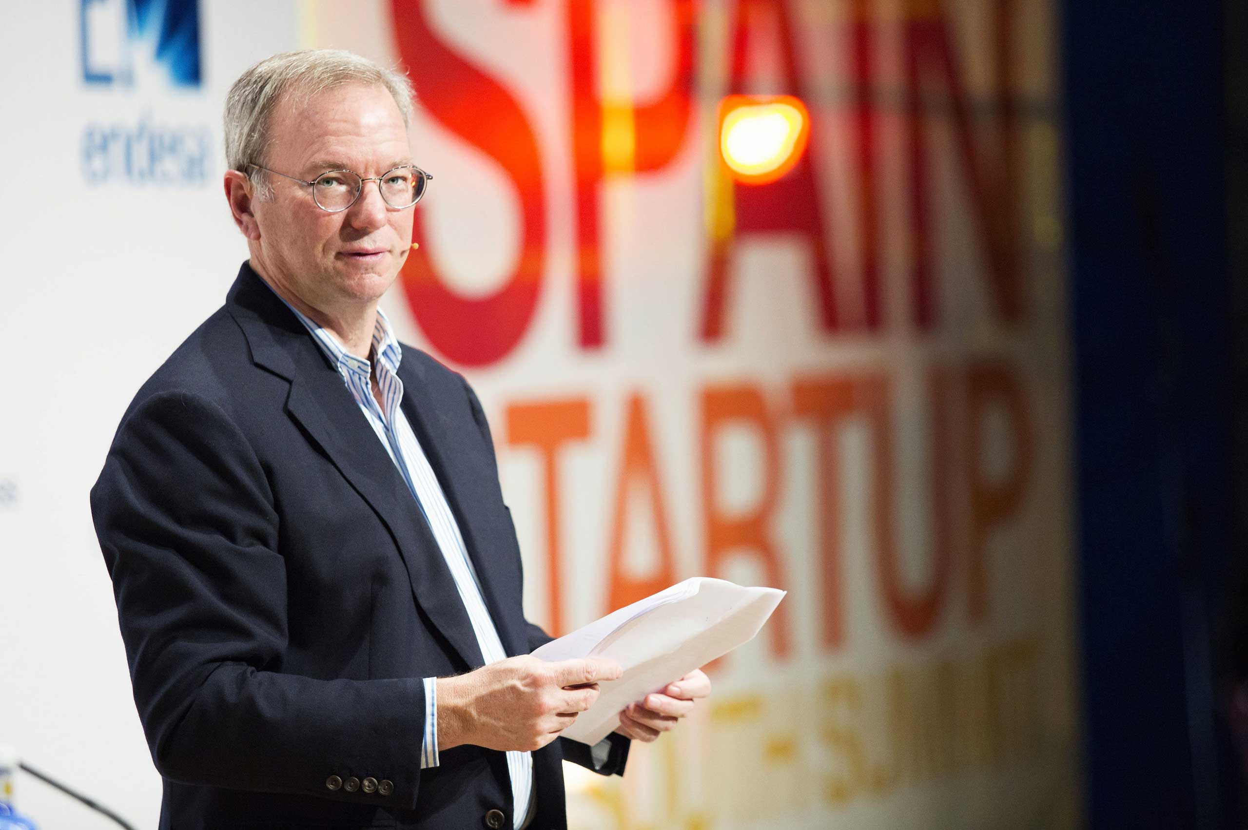 Google Executive Chairman Eric Schmidt speaks at the 'The South Summit'- Spain Start-Up convention at Las Ventas bullring in Madrid on Oct. 10, 2014.