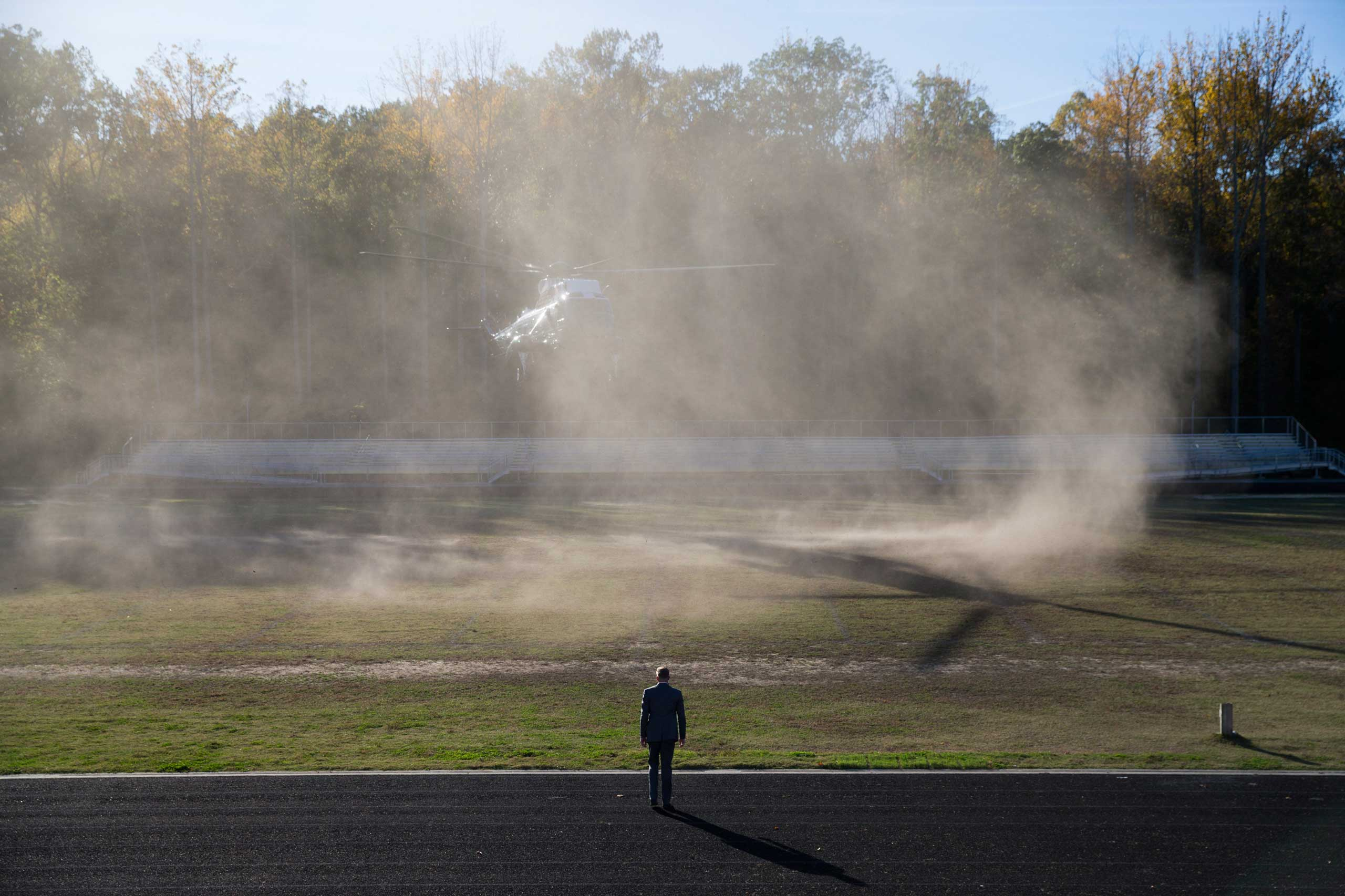 Oct. 19, 2014. Marine One carrying President Barack Obama arrives for a campaign rally for Maryland gubernatorial candidate Anthony Brown at Wise High School, Sunday, in Upper Marlboro, Md.