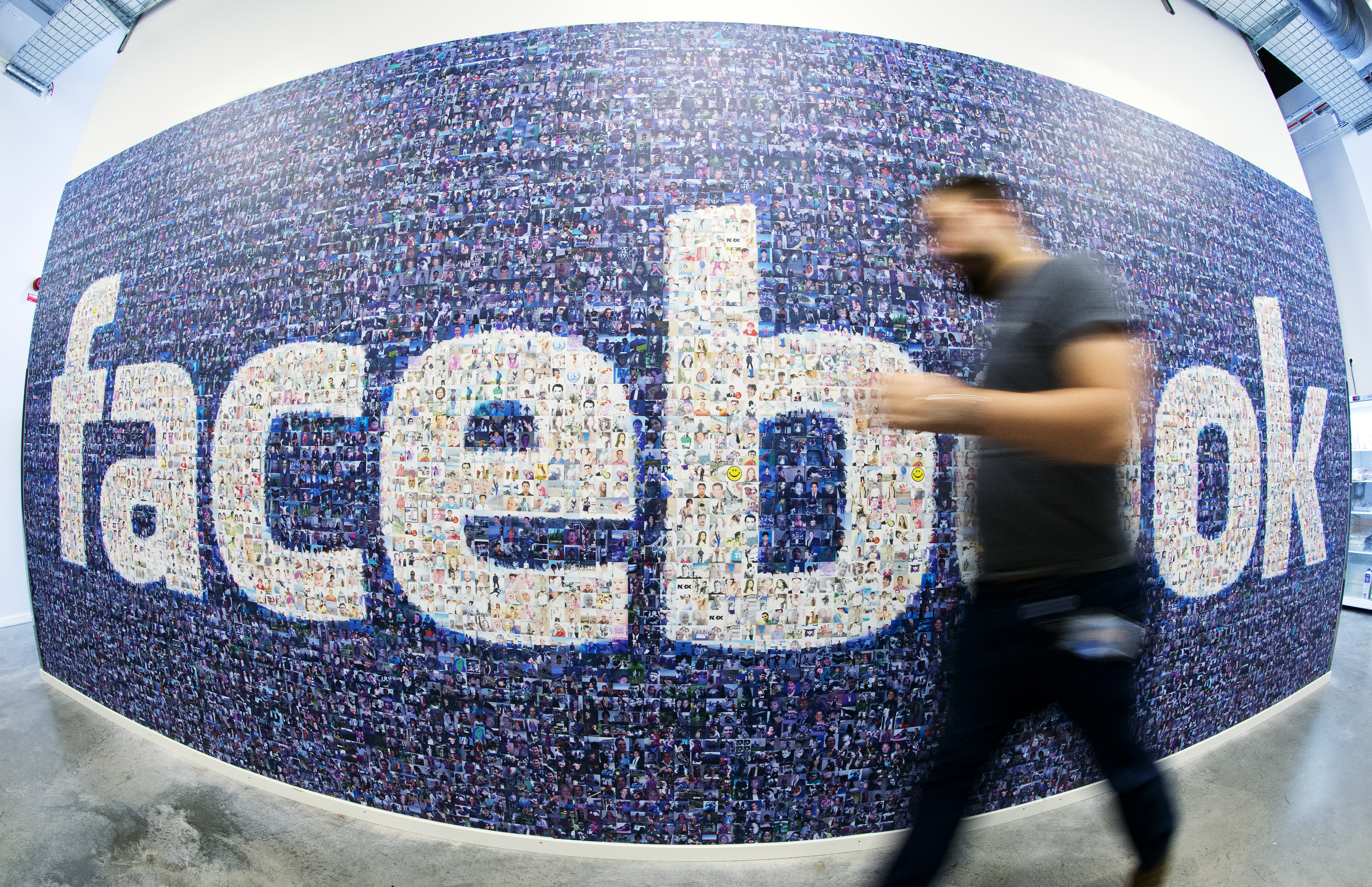 This picture taken with a fisheye lens shows a man walks past a big logo created from pictures of Facebook users worldwide in the company's Data Center, its first outside the US on November 7, 2013 in Lulea, in Swedish Lapland.