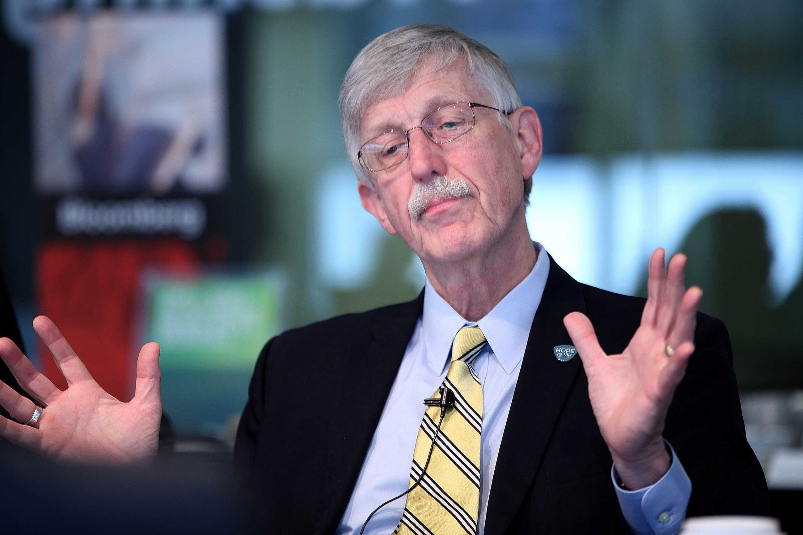 National Institutes of Health Director Francis Collins speaks during an interview in Washington on April 11, 2014.