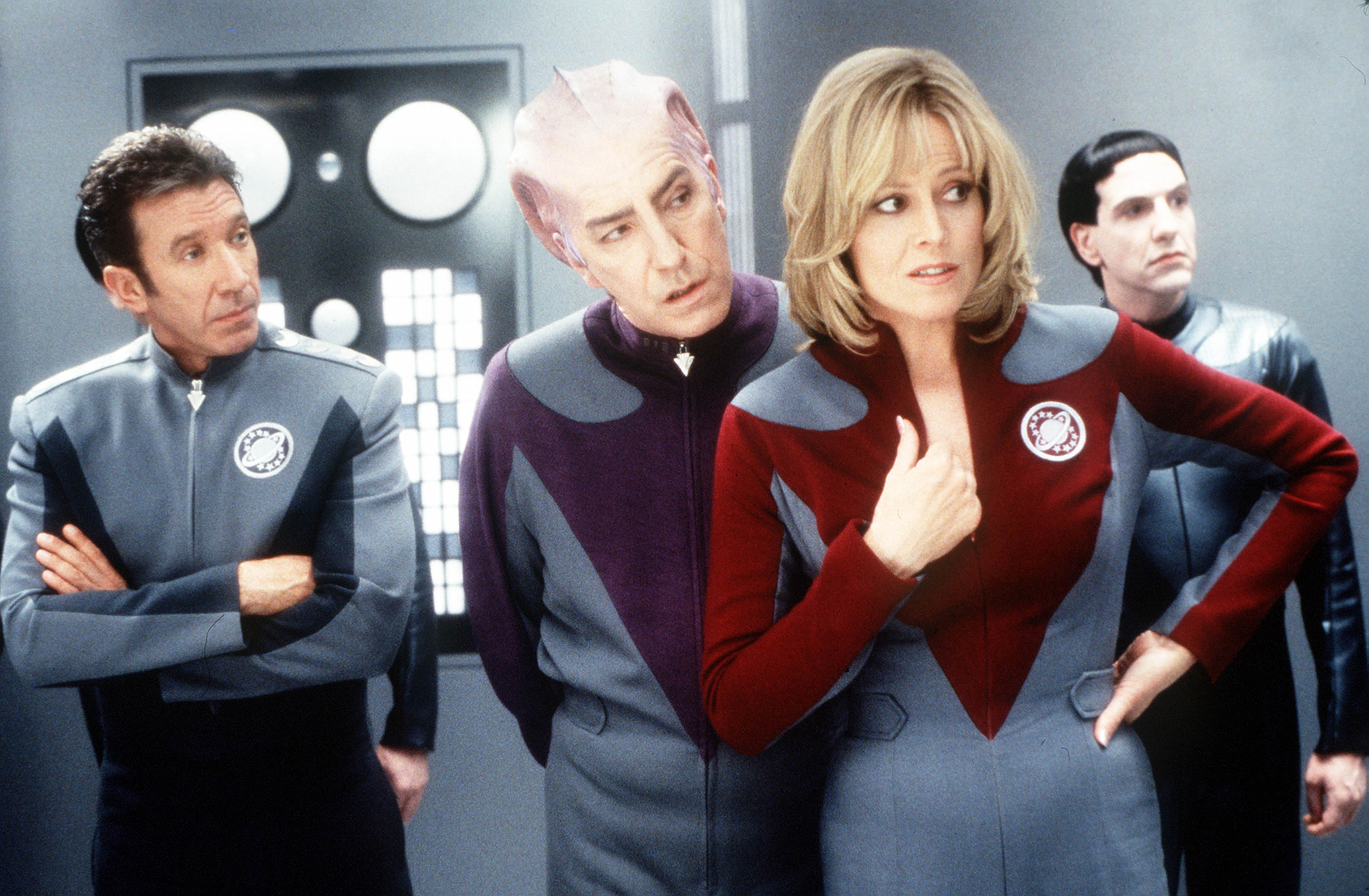 In 1999's meta comedy  Galaxy Quest, Weaver played actress Gwen DeMarco, who in turn played the not-so-bright Lt. Tawny Madison.