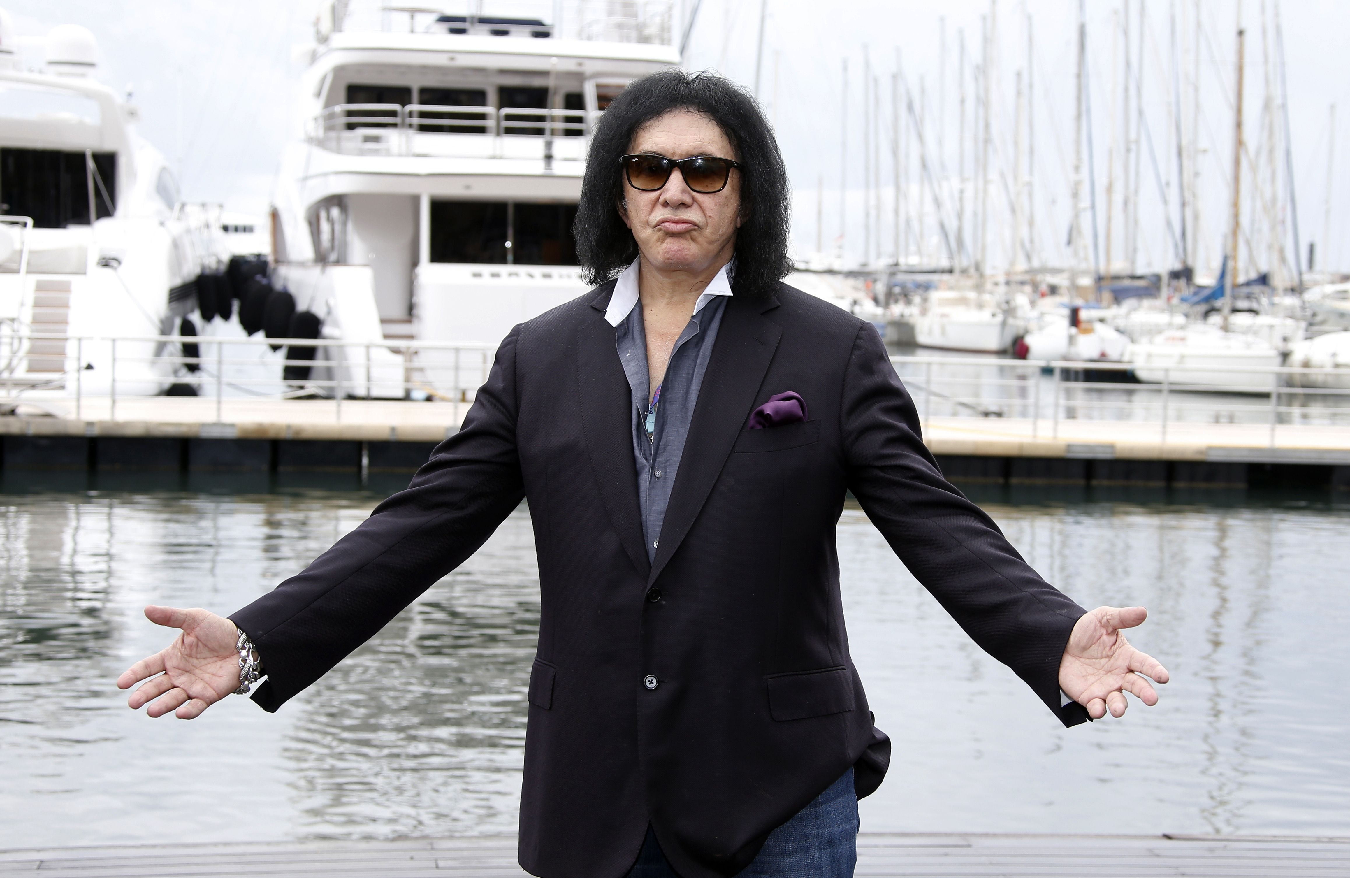 Israeli-US actor and musician, member of the band Kiss, Gene Simmons poses during a photocall for the TV serie  Gene Simmons  as part of the MIPCOM, on Oct. 14, 2014 in Cannes, southeastern France.