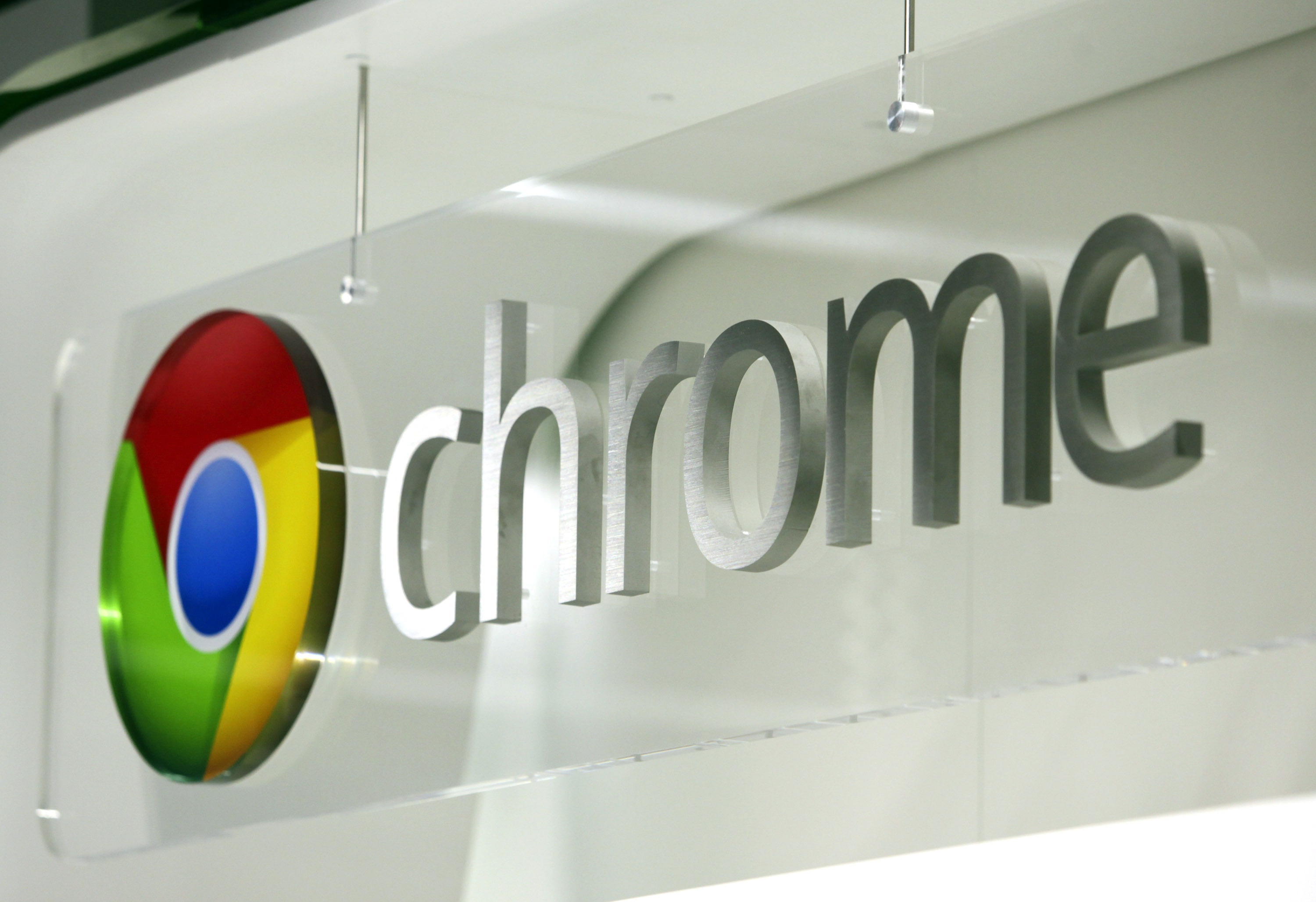 The logo of Google Inc. Chrome is displayed at a Currys and PC World 2 in 1 store, operated by Dixons Retail Plc, on Tottenham Court Road in London, U.K., on Wednesday, Dec. 7, 2011.
