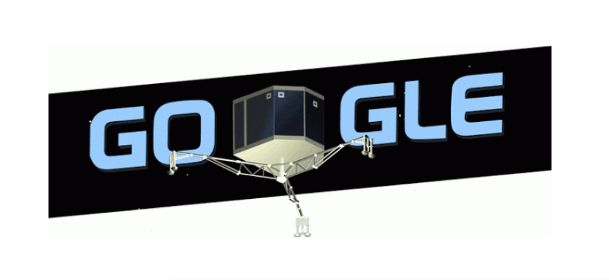<strong>Nov. 12, 2014</strong> For the landing of the Philae lander, the first spacecraft on a moving comet, Google created a gyrating lander with passing stars.