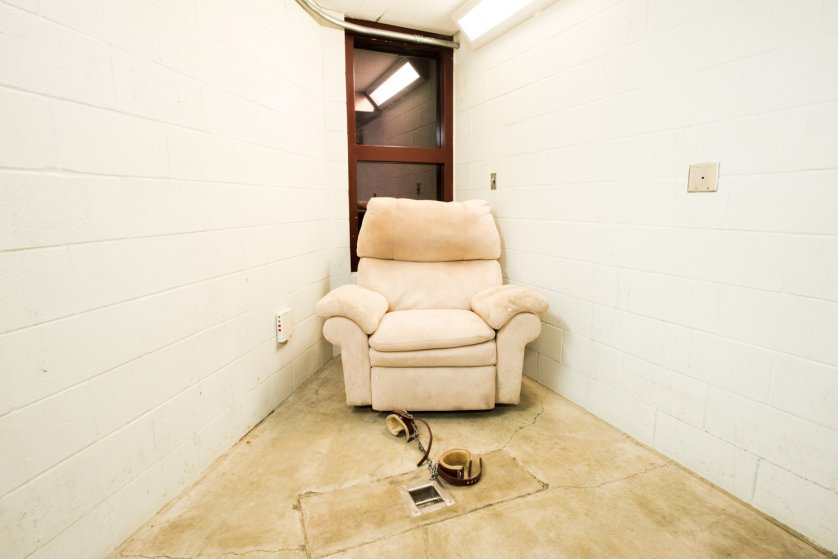 """Compliant Detainee Media Room, Camp 5. From the ongoing series, """"Gitmo at Home, Gitmo at Play."""""""