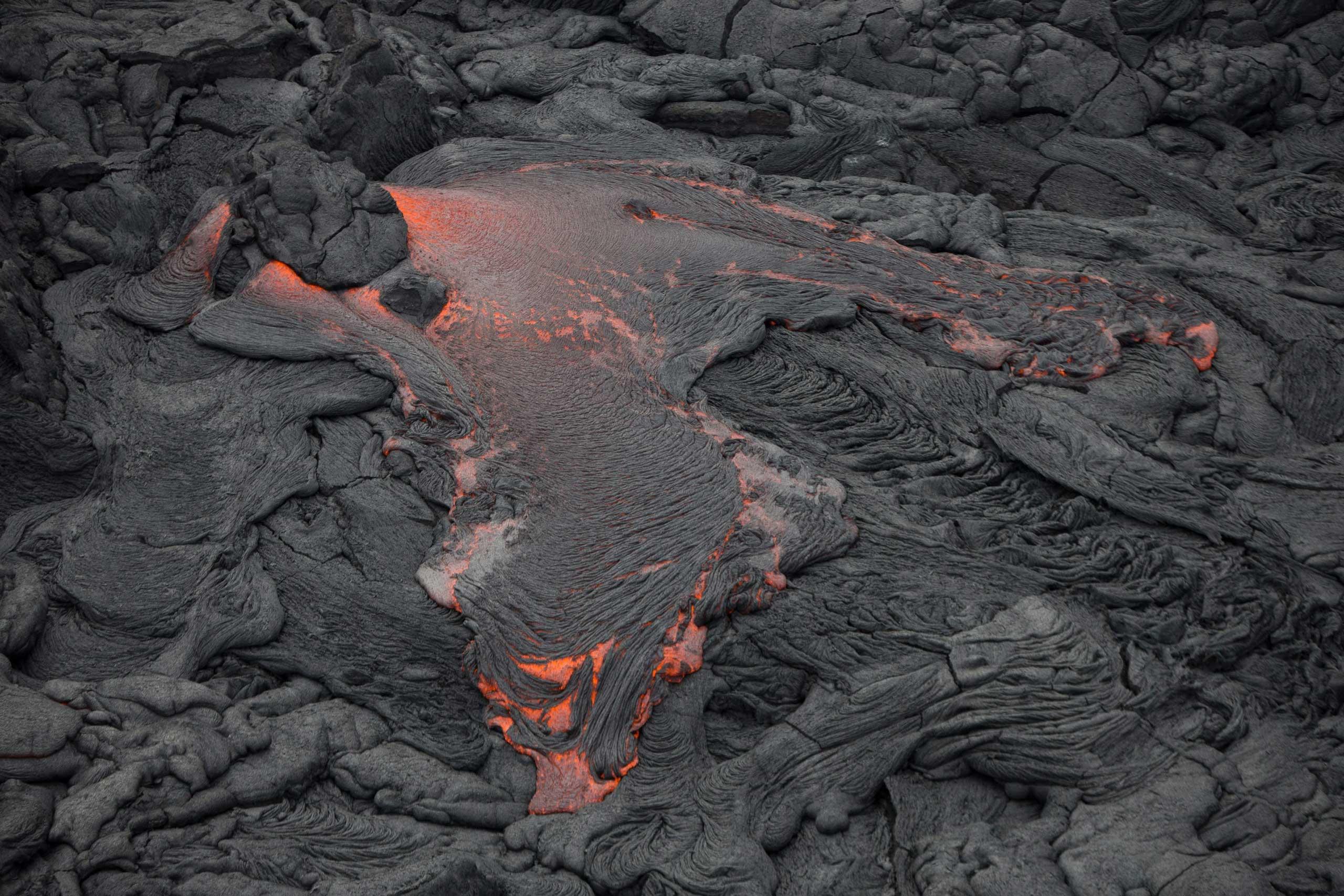 Lava from Kilauea Volcano threatens the town of Pahoa, Hawaii on Oct. 29, 2014.