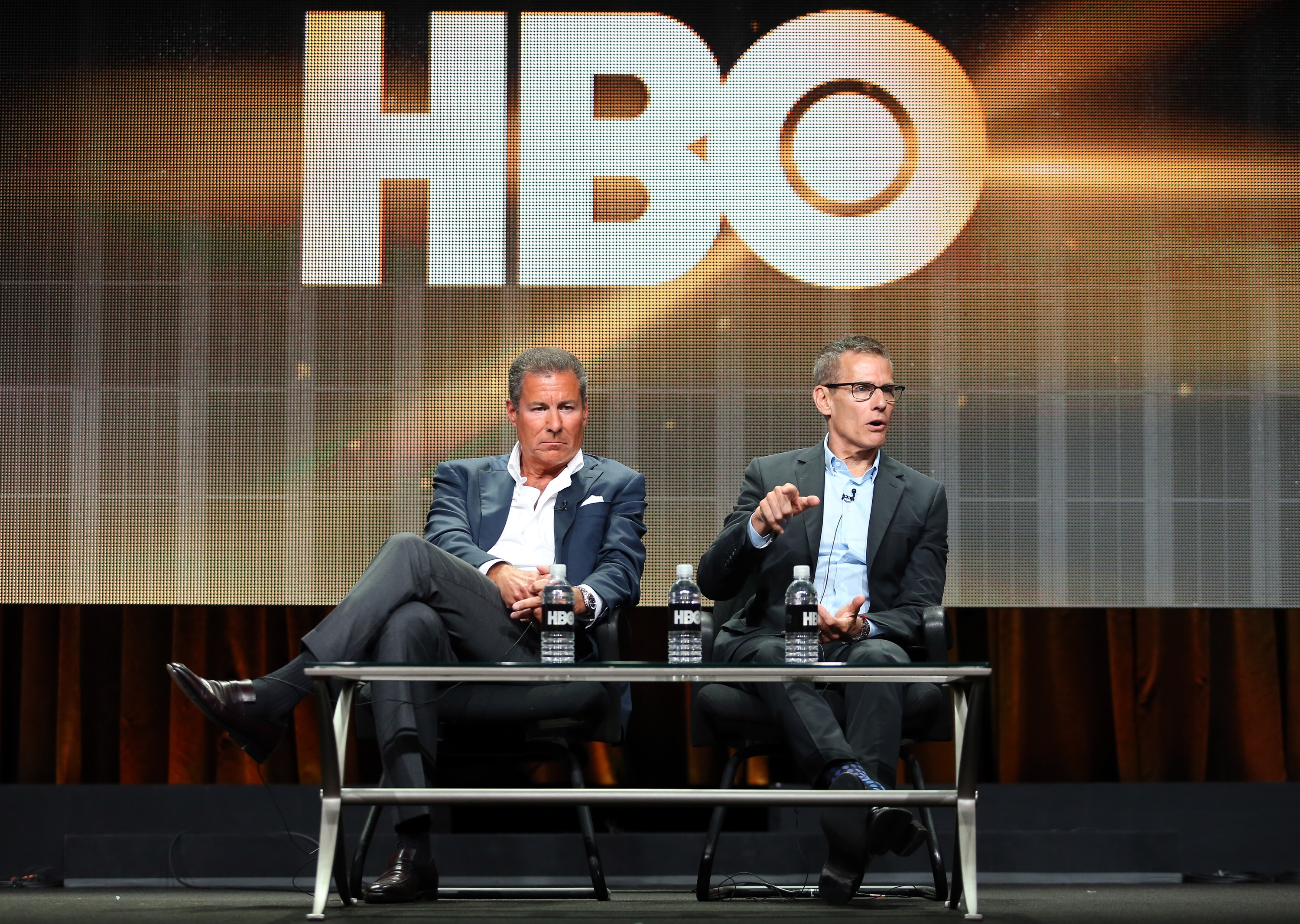 HBO Chairman and CEO Richard Plepler and HBO Programming President Michael Lombardo speak onstage at the Executive Session panel during the HBO portion of the 2014 Summer Television Critics Association on July 10, 2014 in Beverly Hills.