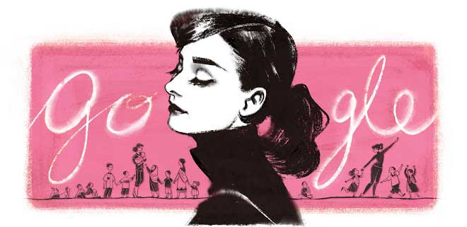 "<strong>May 4 2014</strong> For <a href=""http://time.com/87152/google-doodle-audrey-hepburn/"" target=""_blank""> Audrey Hepburn's 85th birthday,</a> the doodle team adapted an image from a 1956 black and white photograph taken by Yousuf Karsh."