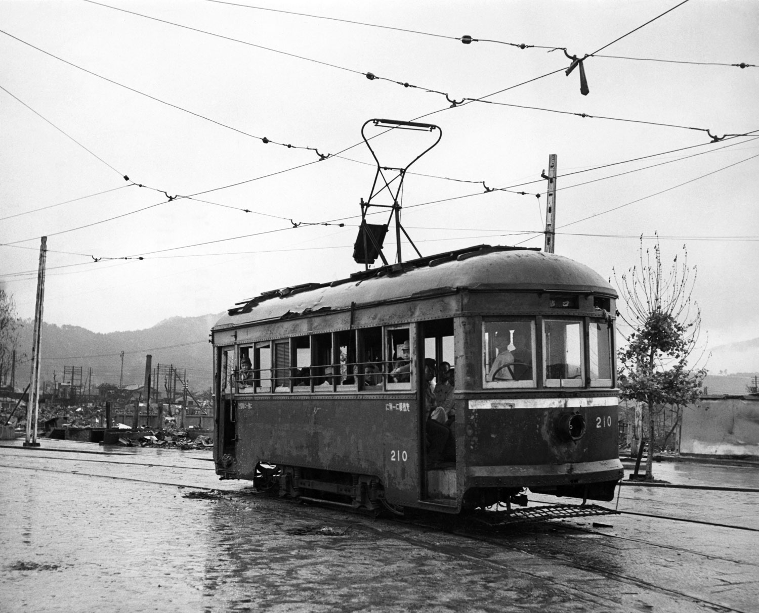 <b>Not published in LIFE.</b> Hiroshima streetcar, September, 1945.