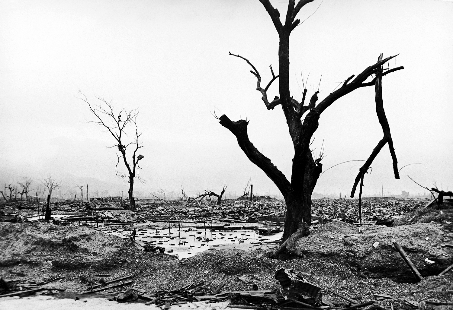 <b>Not published in LIFE.</b> Neighborhood reduced to rubble by atomic bomb blast, Hiroshima, 1945.