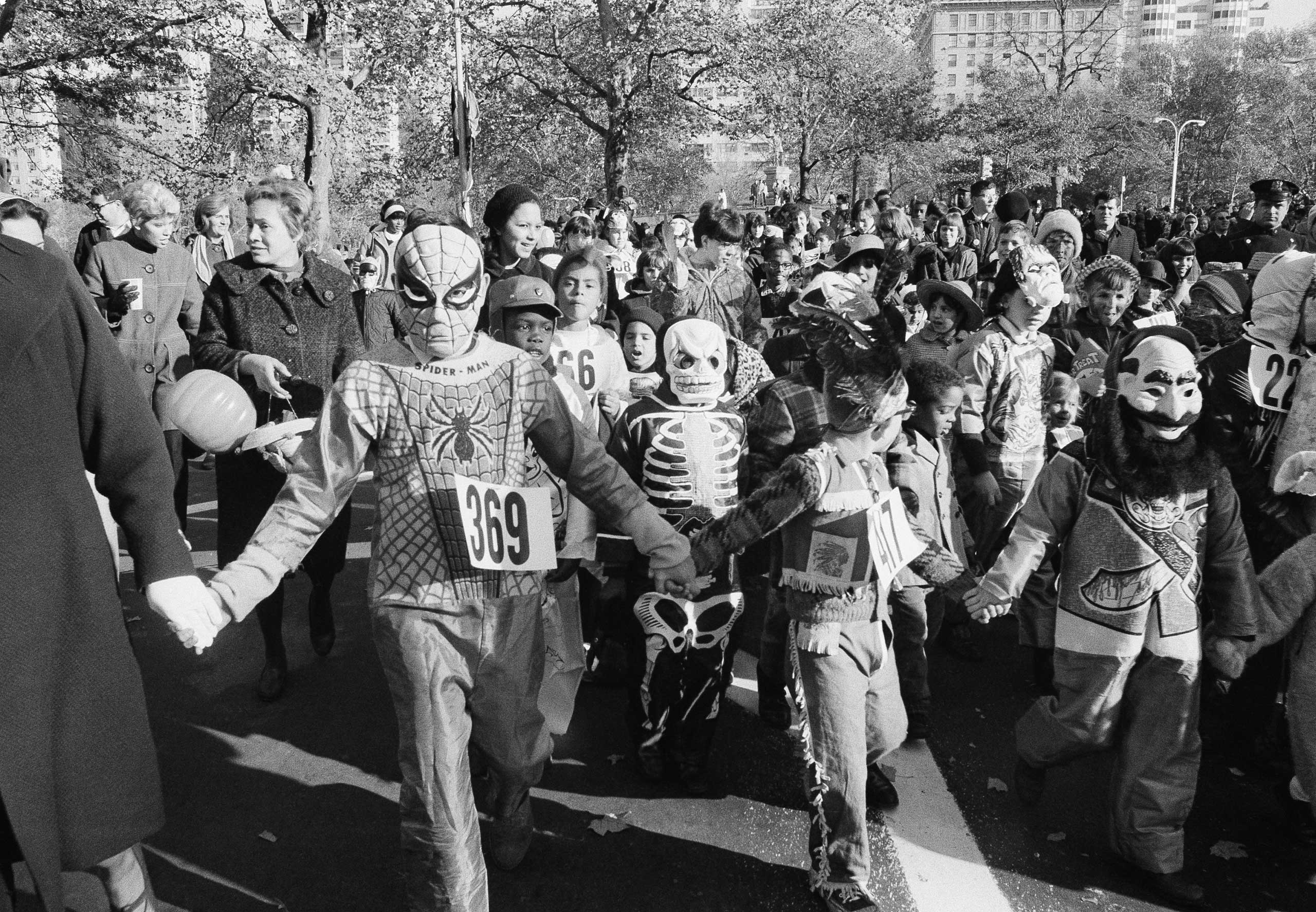 Children parade through Central Park in New York City on Oct. 30, 1966.