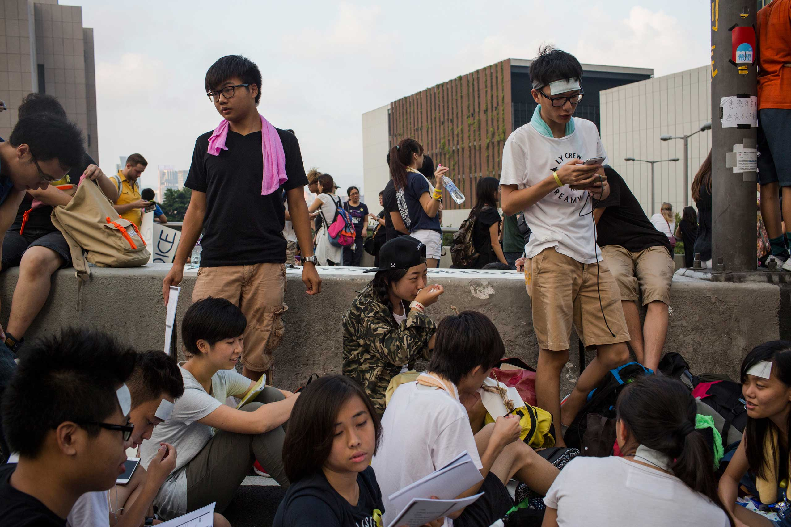 Students from various universities continue their protest in the streets of Hong Kong, Oct. 1, 2014.
