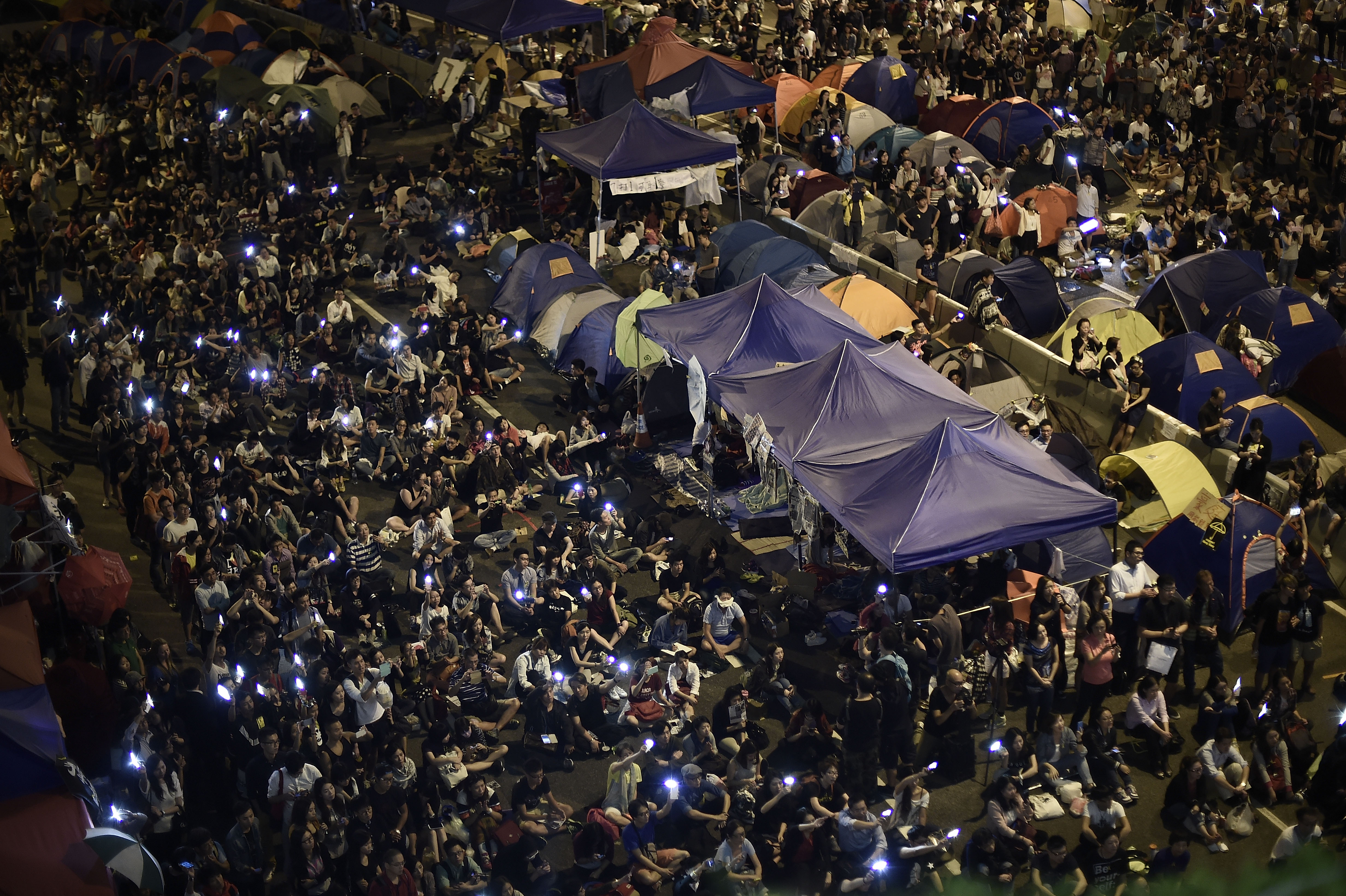 On October 16, 2014 in Hong Kong, pro-democracy protesters continue to call for open elections and the resignation of Hong Kong's Chief Executive Leung Chun-ying.