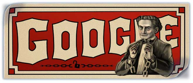 March 24, 2011 The Harry Houdini doodle was created in the style of the old posters advertising the death-defying magician.
