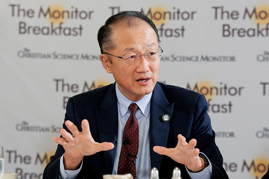 World Bank President Dr. Jim Kim speaks to reporters in Washington  about Ebola on Oct. 24