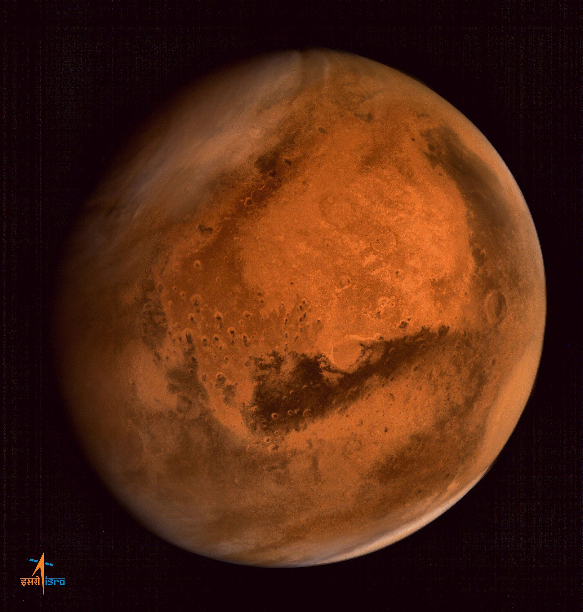 Mars photographed by the ISRO Mars Orbiter Mission (MOM) spacecraft on Sept. 30, 2014.