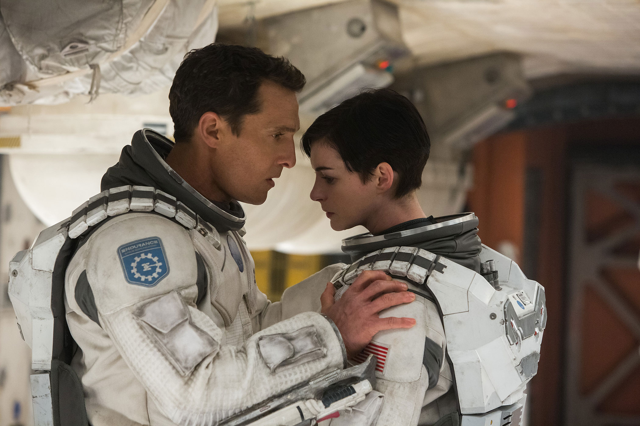Matthew McConaughey and Anne Hathaway in a scene from <i>Interstellar</i>.