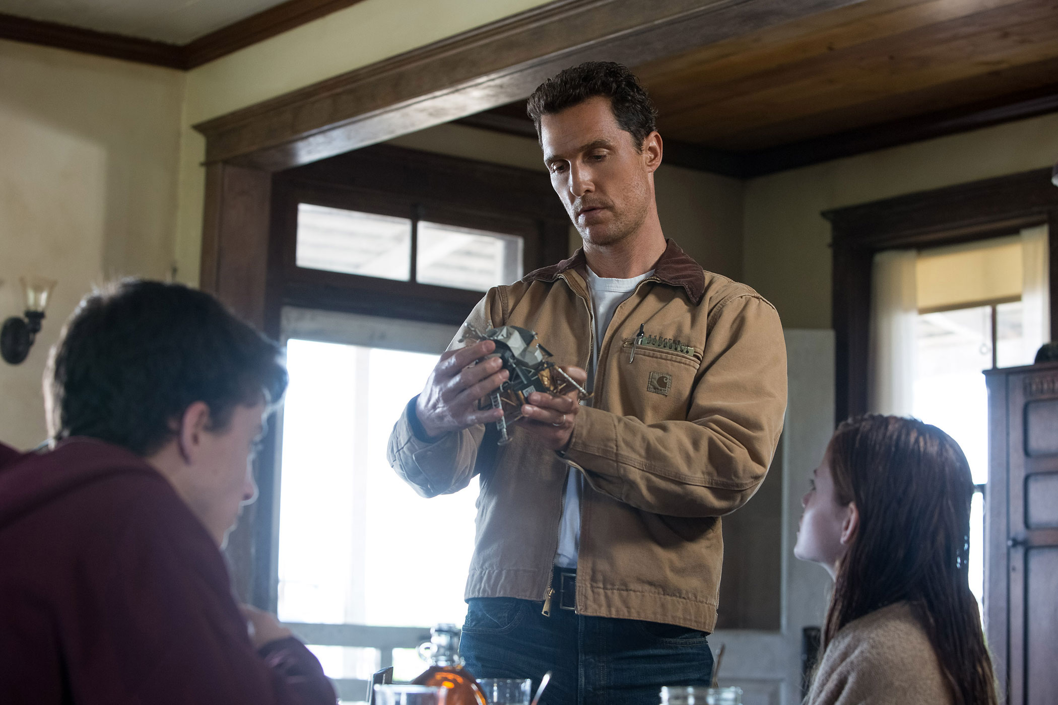 Timothée Chalamet, Matthew McConaughey and Mackenzie Foy in a scene from <i>Interstellar</i>.