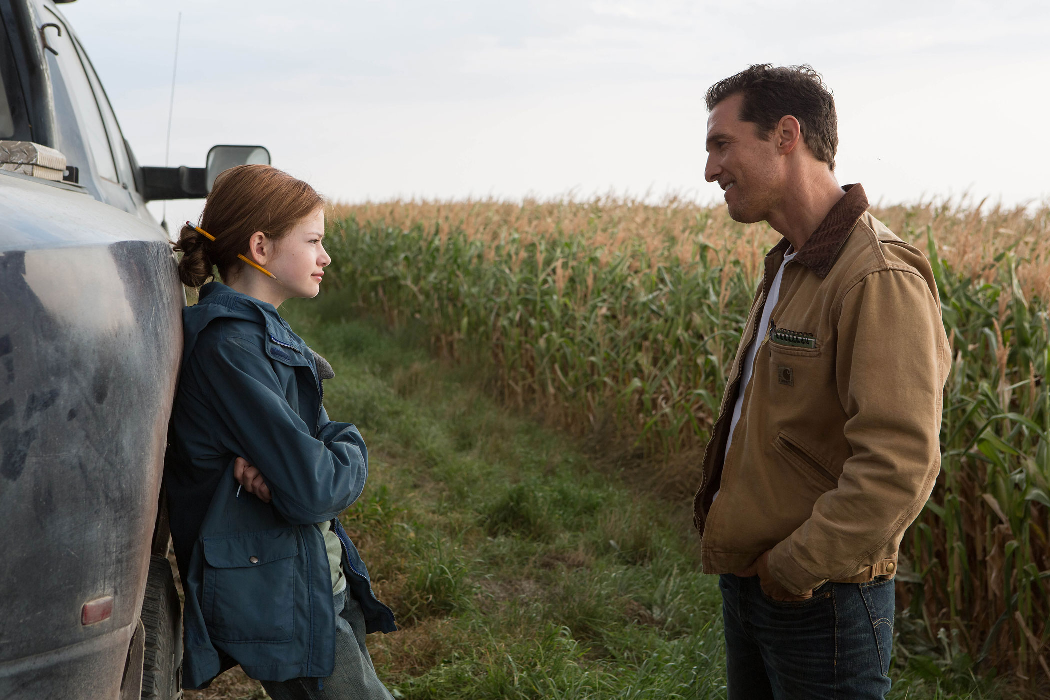 Mackenzie Foy and Matthew McConaughey in  a scene from <i>Interstellar</i>.