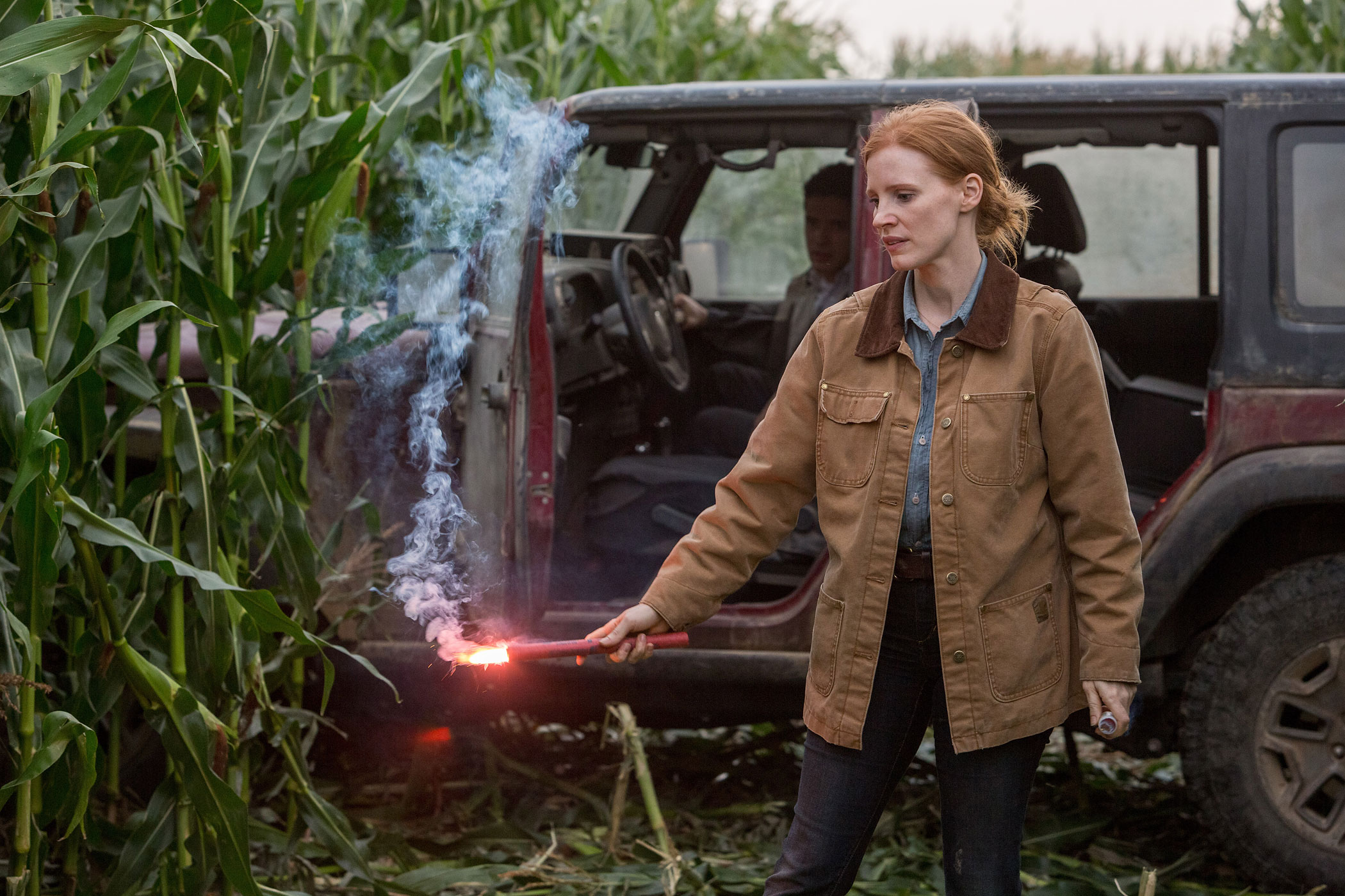 Jessica Chastain and Topher Grace in a scene from <i>Interstellar</i>.