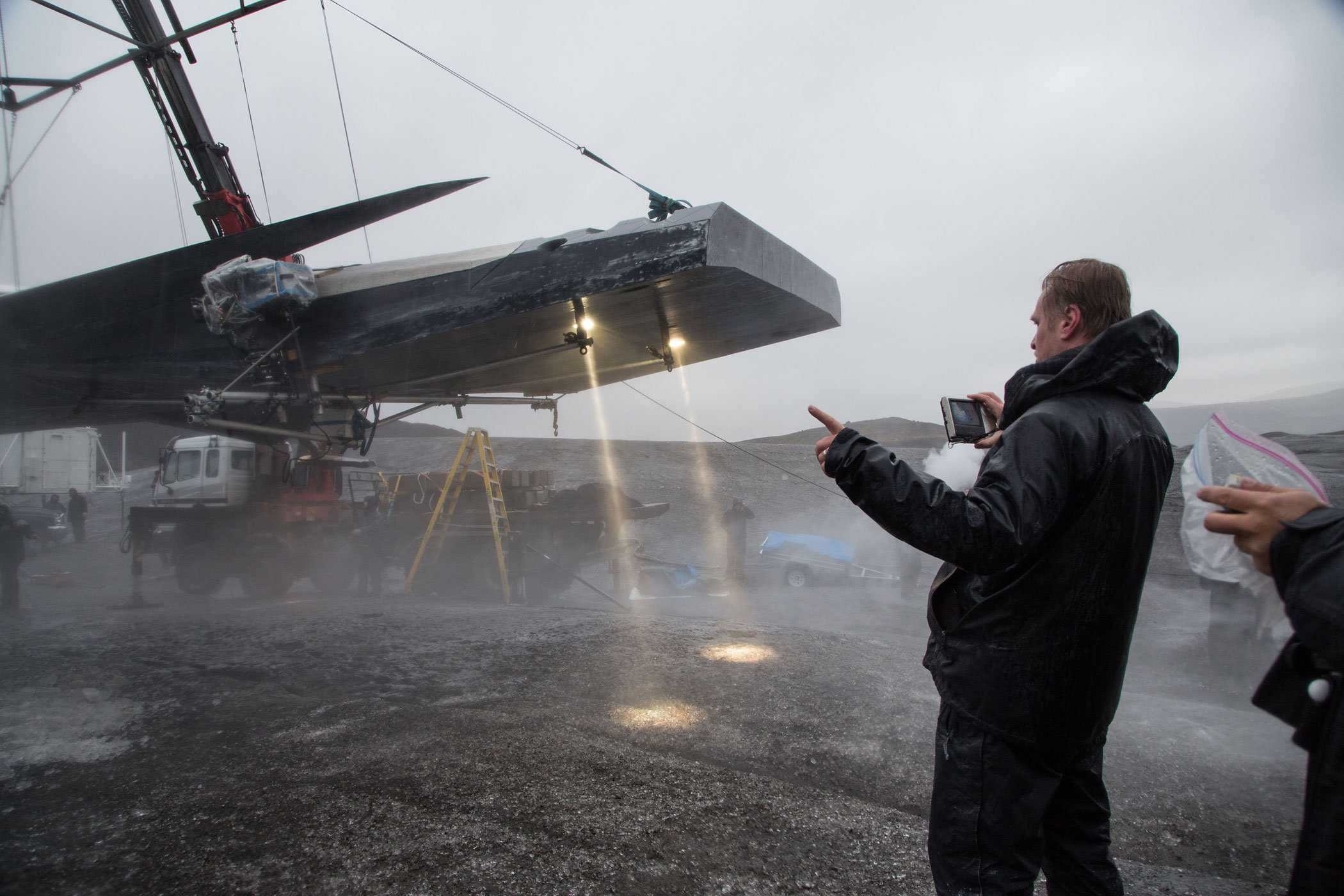 Director Christopher Nolan on the set of <i>Interstellar</i>.