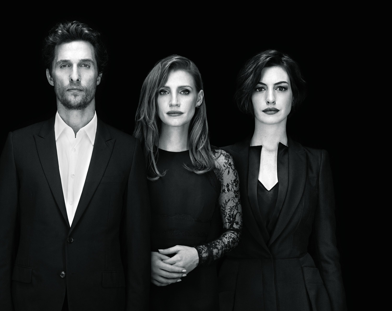 Matthew McConaughey, Jessica Chastain, and Anne Hathaway star in Interstellar.
