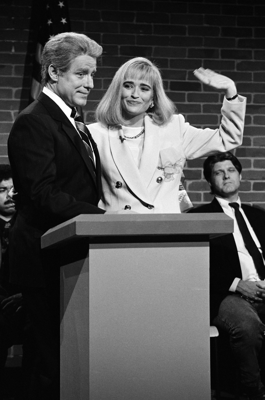 Phil Hartman as Bill Clinton, Jan Hooks as Hillary Clinton during the 'Nightline' skit on September 26, 1992.