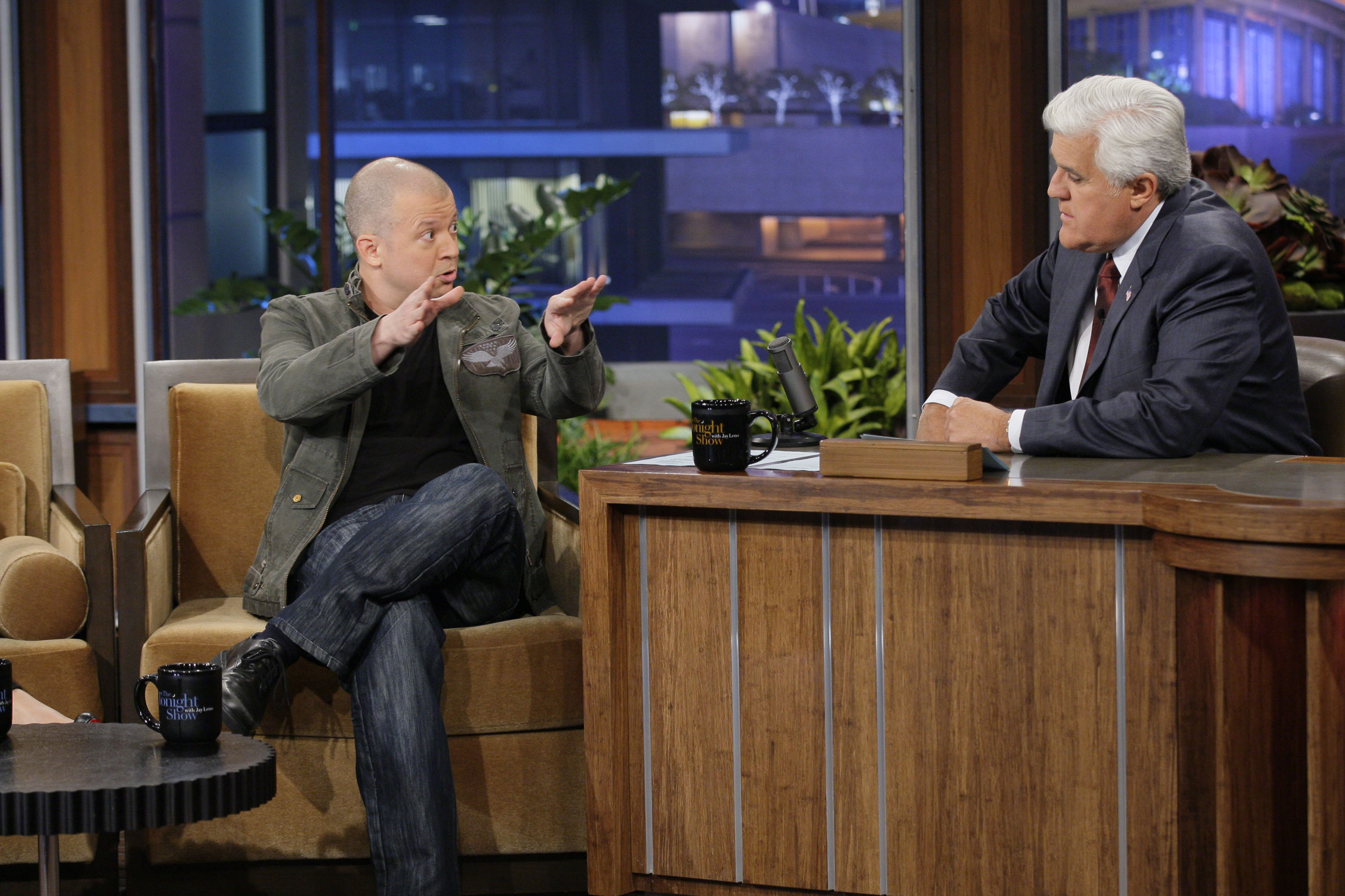 Comedian Jim Norton during an interview with host Jay Leno on June 27, 2012.