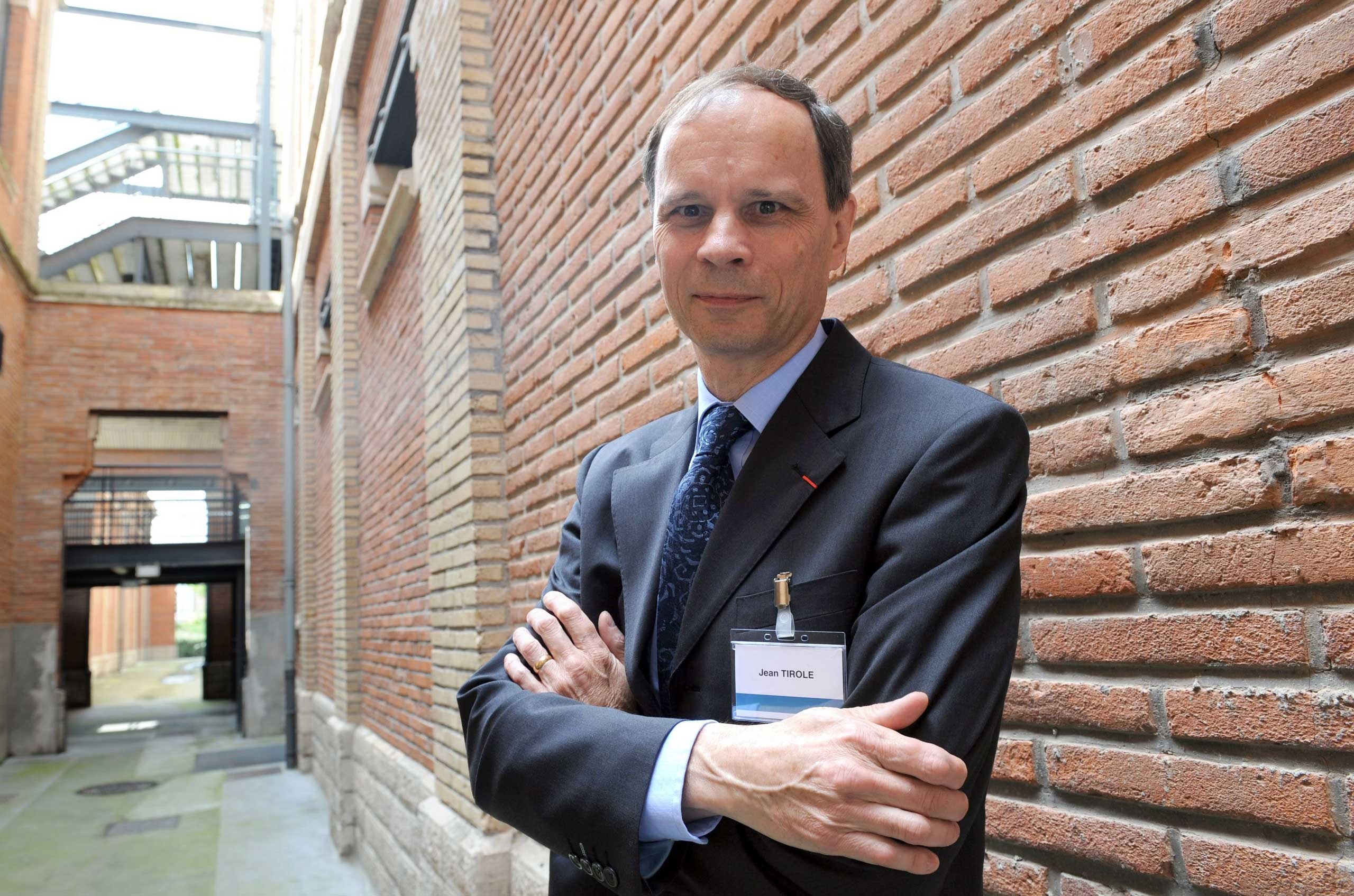 French economist Jean Tirole poses at the School of Economics in Toulouse, France on June 2, 2008.