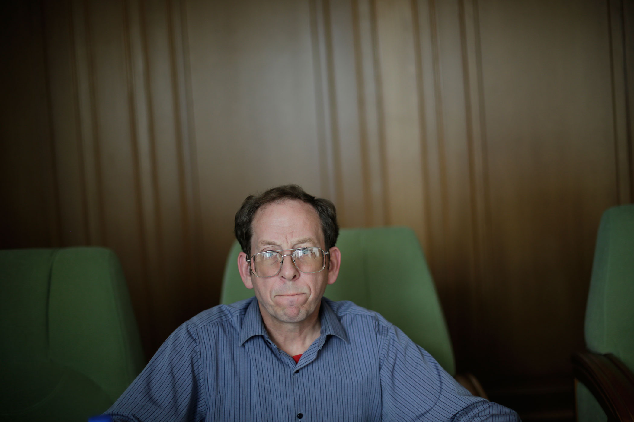Jeffrey Fowle, an American detained in North Korea speaks to the Associated Press, Sept. 1, 2014 in Pyongyang, North Korea.