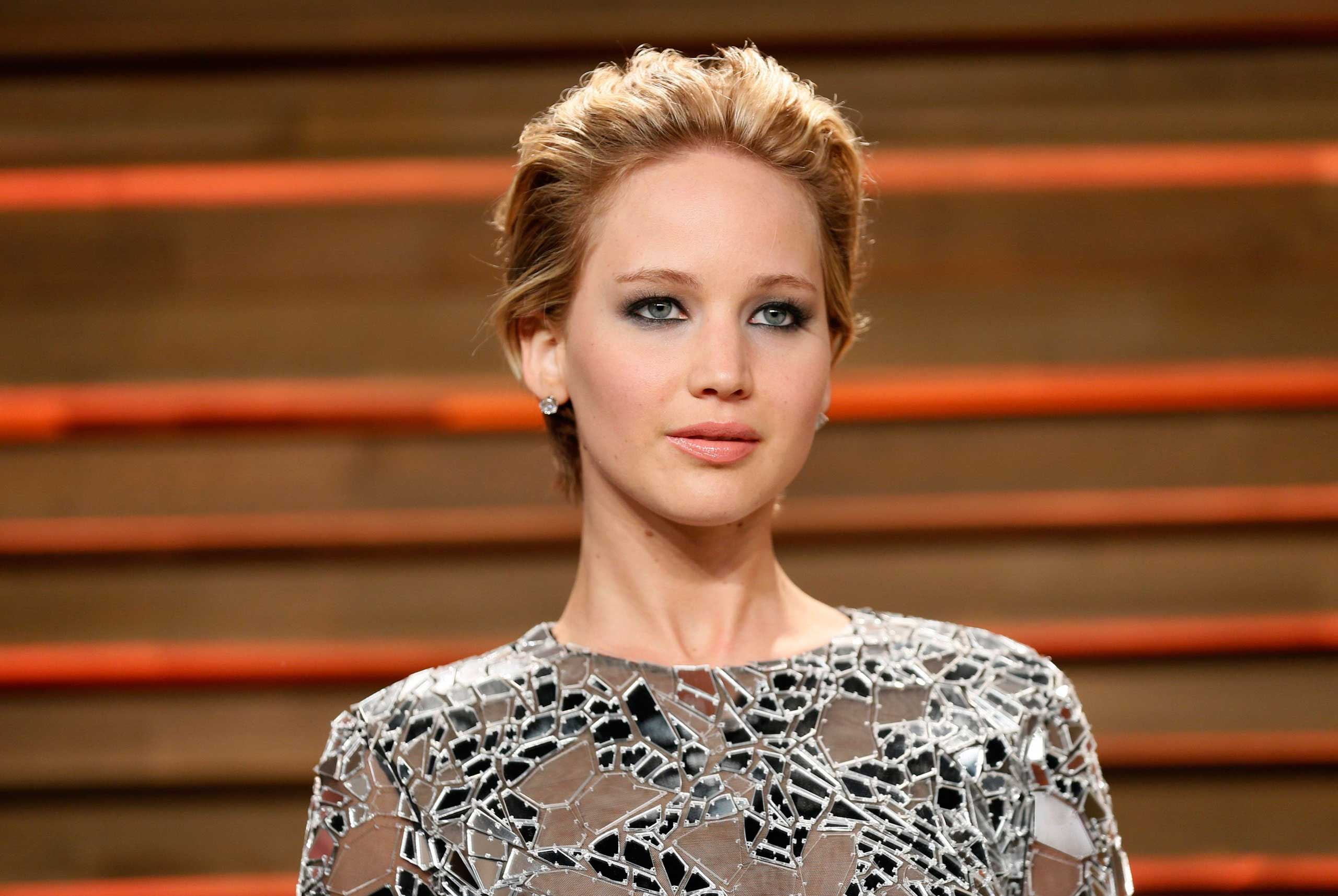 Actress Jennifer Lawrence arrives at the 2014 Vanity Fair Oscars Party in West Hollywood, Calif. on March 2, 2014.