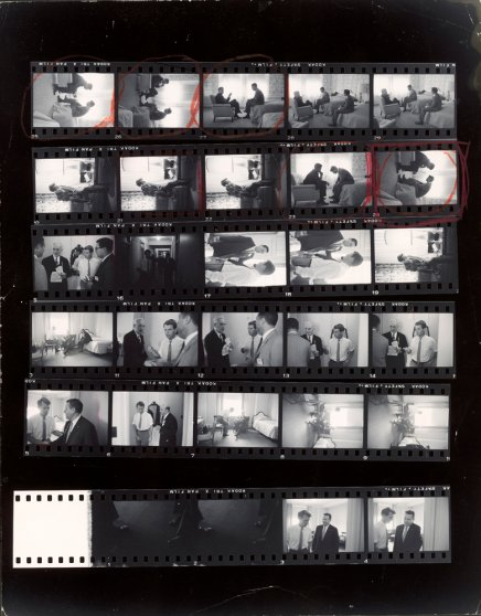 Hank Walker's contact sheet from Los Angeles in July 1960, including the circled frame of the famous photo of John and Robert Kennedy conferring in a hotel suite.