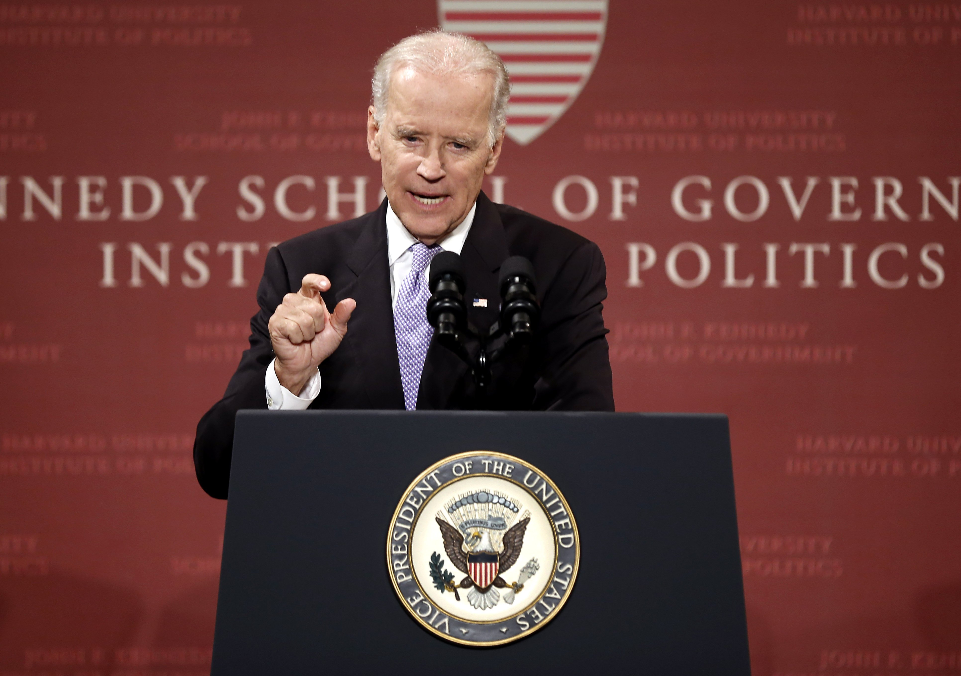 Vice President Joe Biden speaks to students faculty and staff at Harvard University's Kennedy School of Government in Cambridge, Mass. on Oct. 2, 2014.