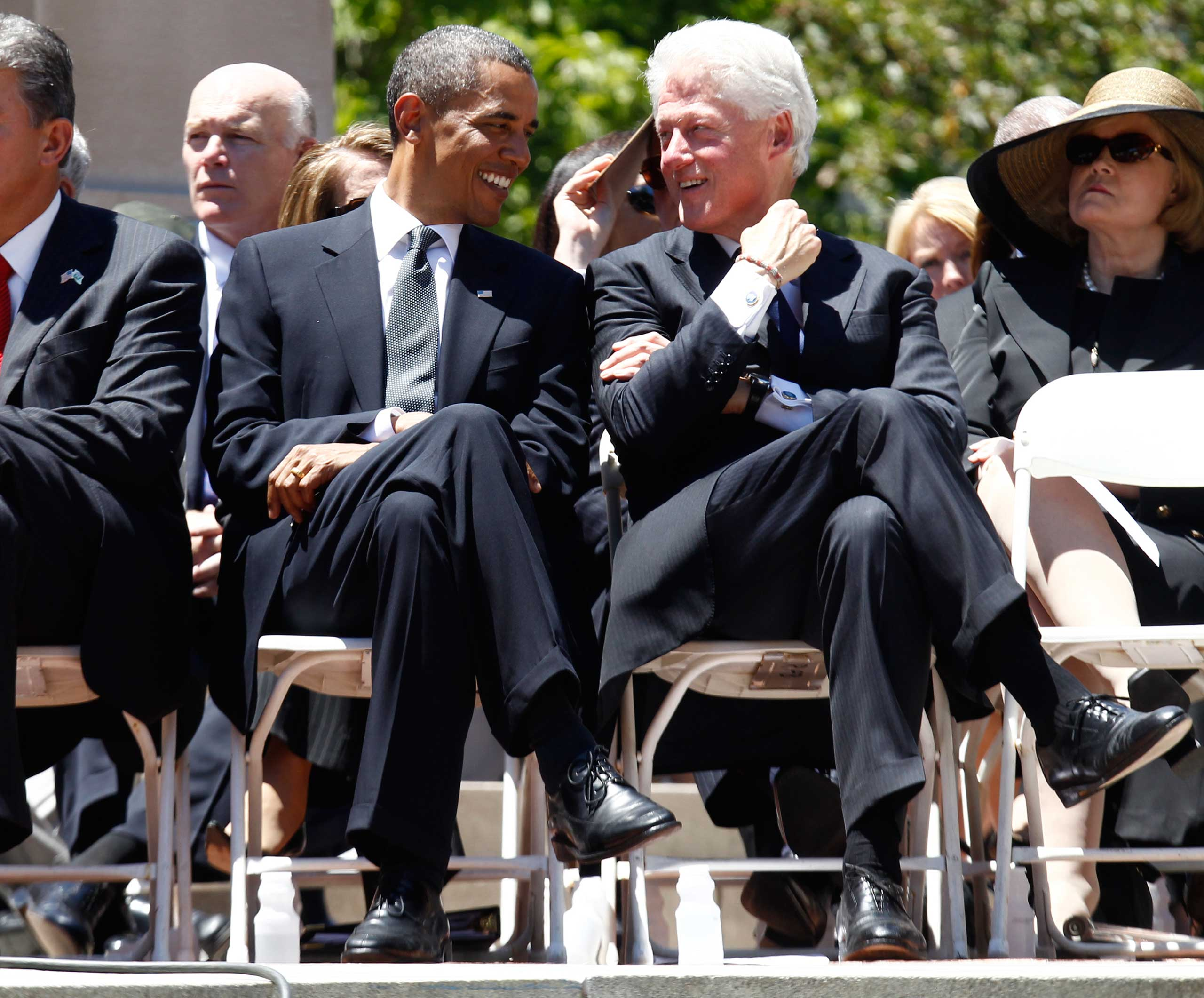 Clancy scans the crowd seated just behind Obama and former President Bill Clinton as the two talk at a memorial service for Sen. Robert Byrd on July 2, 2010, at the Capitol in Charleston, WV.